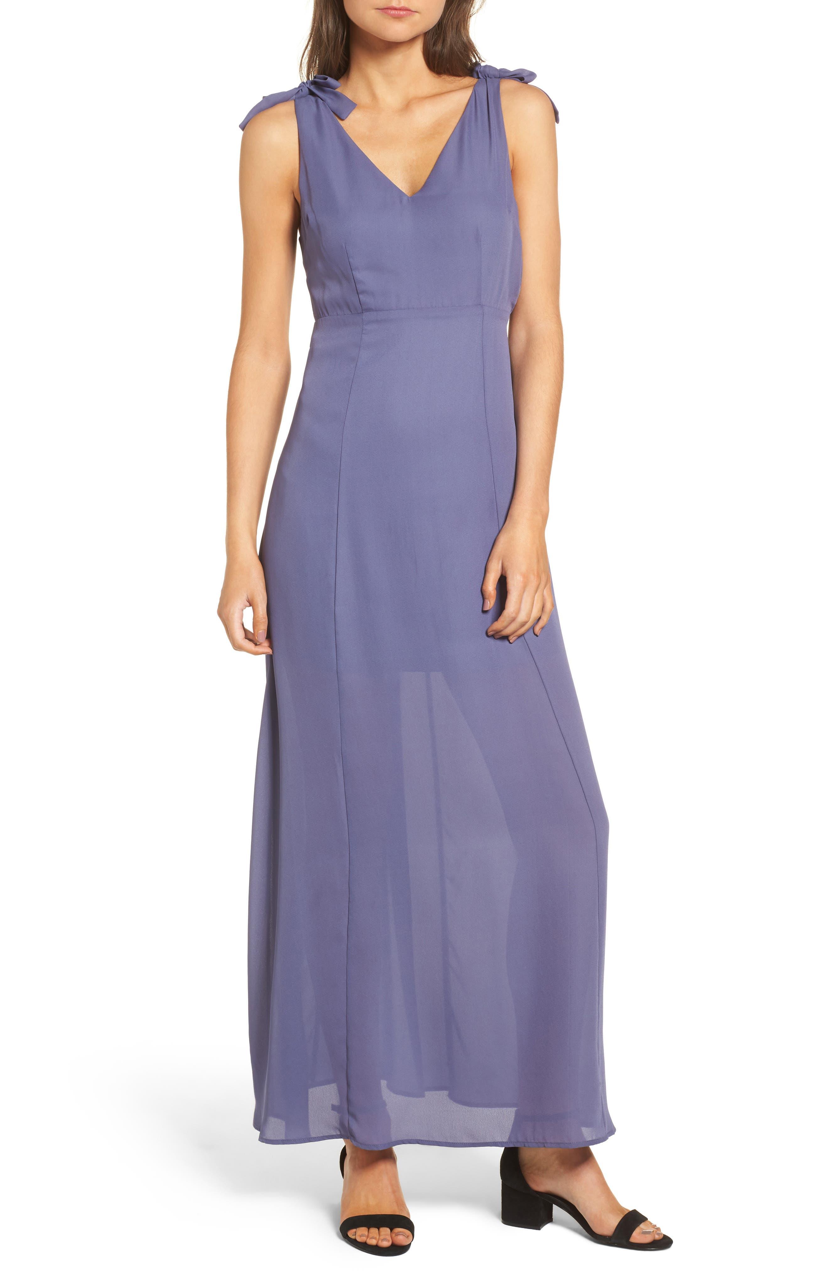 Tie Strap Maxi Dress,                         Main,                         color, Slate