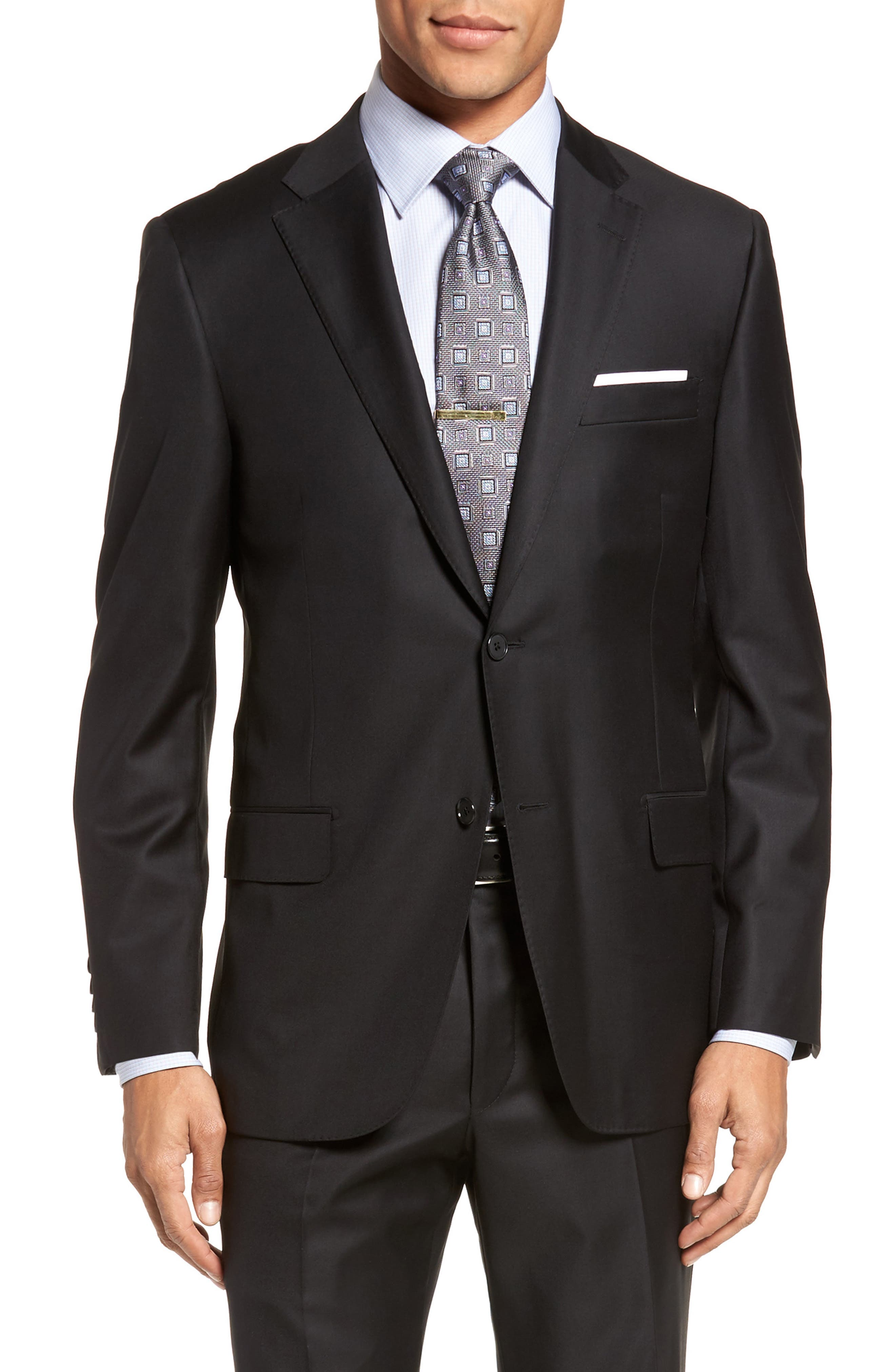 Classic B Fit Solid Loro Piana Wool Suit,                             Alternate thumbnail 5, color,                             Black Solid