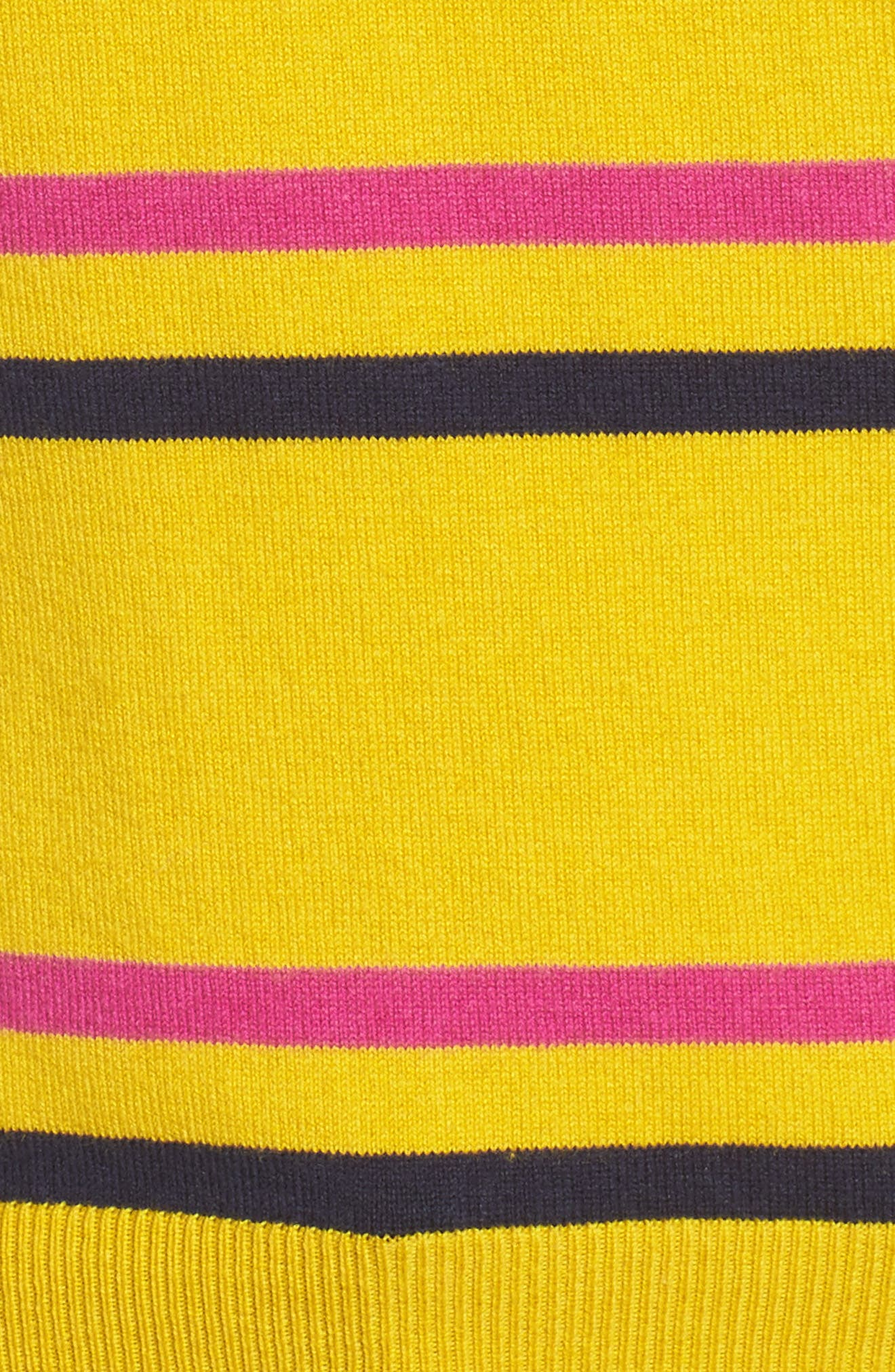 Ruffle Yoke Sweater,                             Alternate thumbnail 6, color,                             Yellow Sulfur Margret Stripe