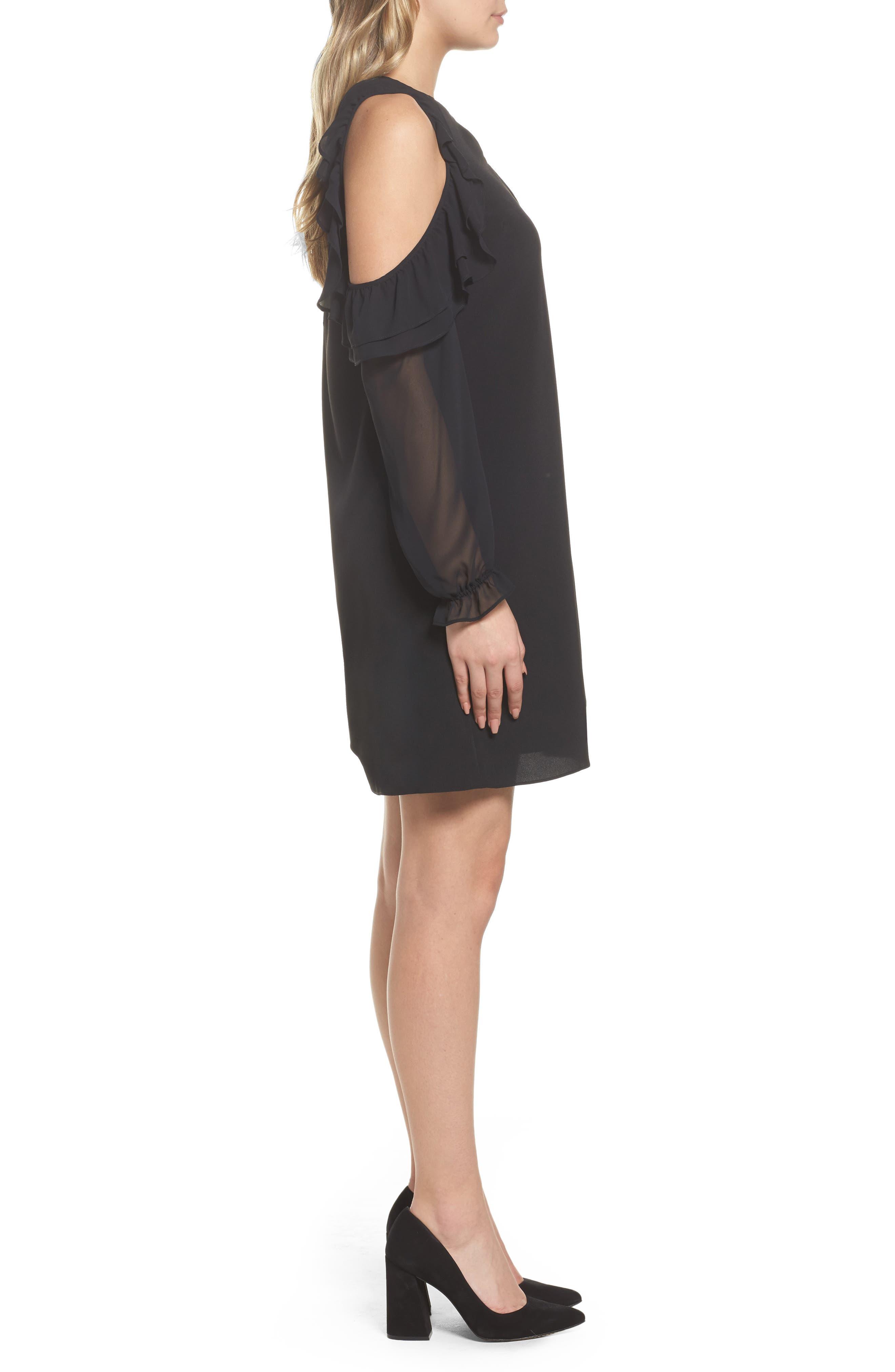 Isabella Cold Shoulder Shift Dress,                             Alternate thumbnail 3, color,                             Rich Black