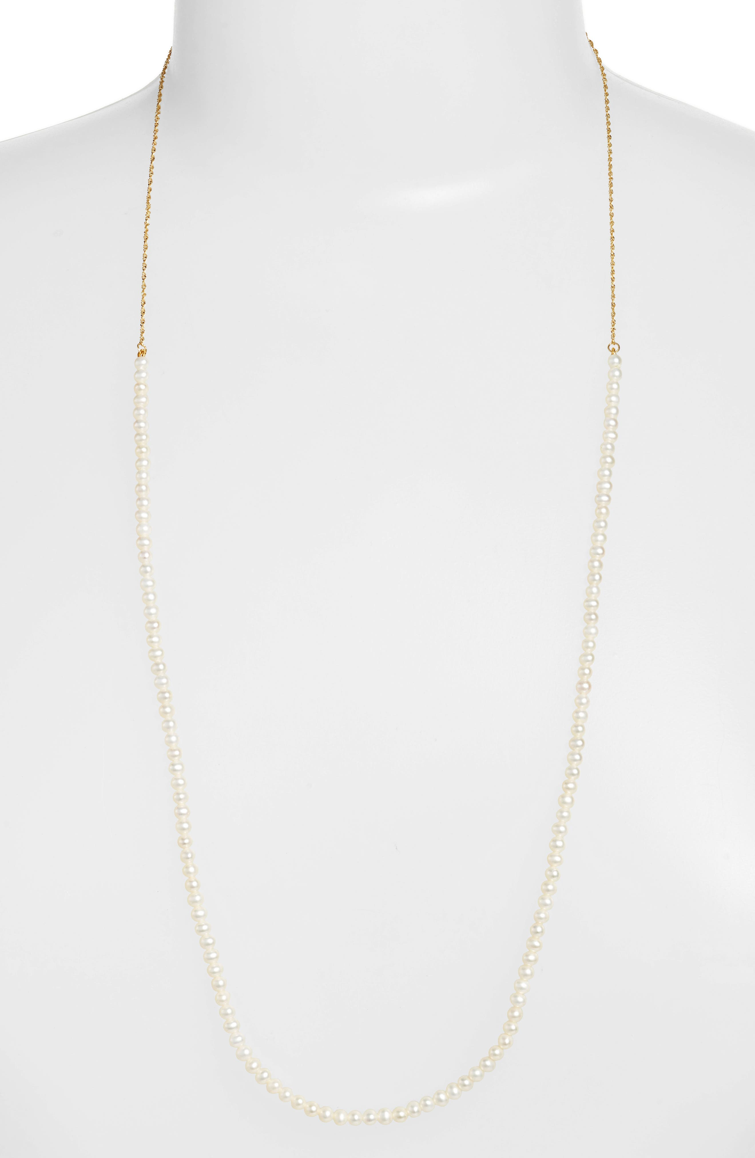 Long Pearl Strand Necklace,                         Main,                         color, Yellow Gold