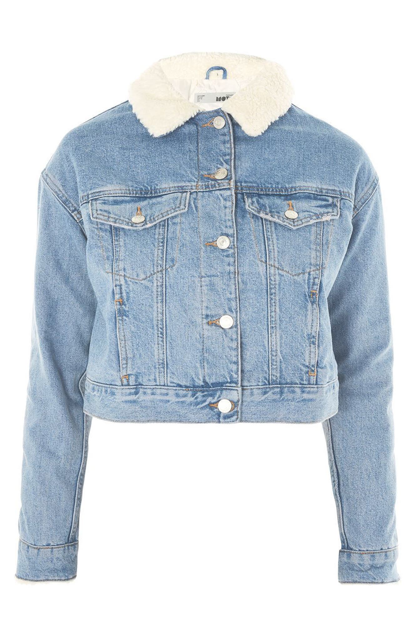 Tilda Borg Denim Jacket,                             Alternate thumbnail 4, color,                             Mid Denim