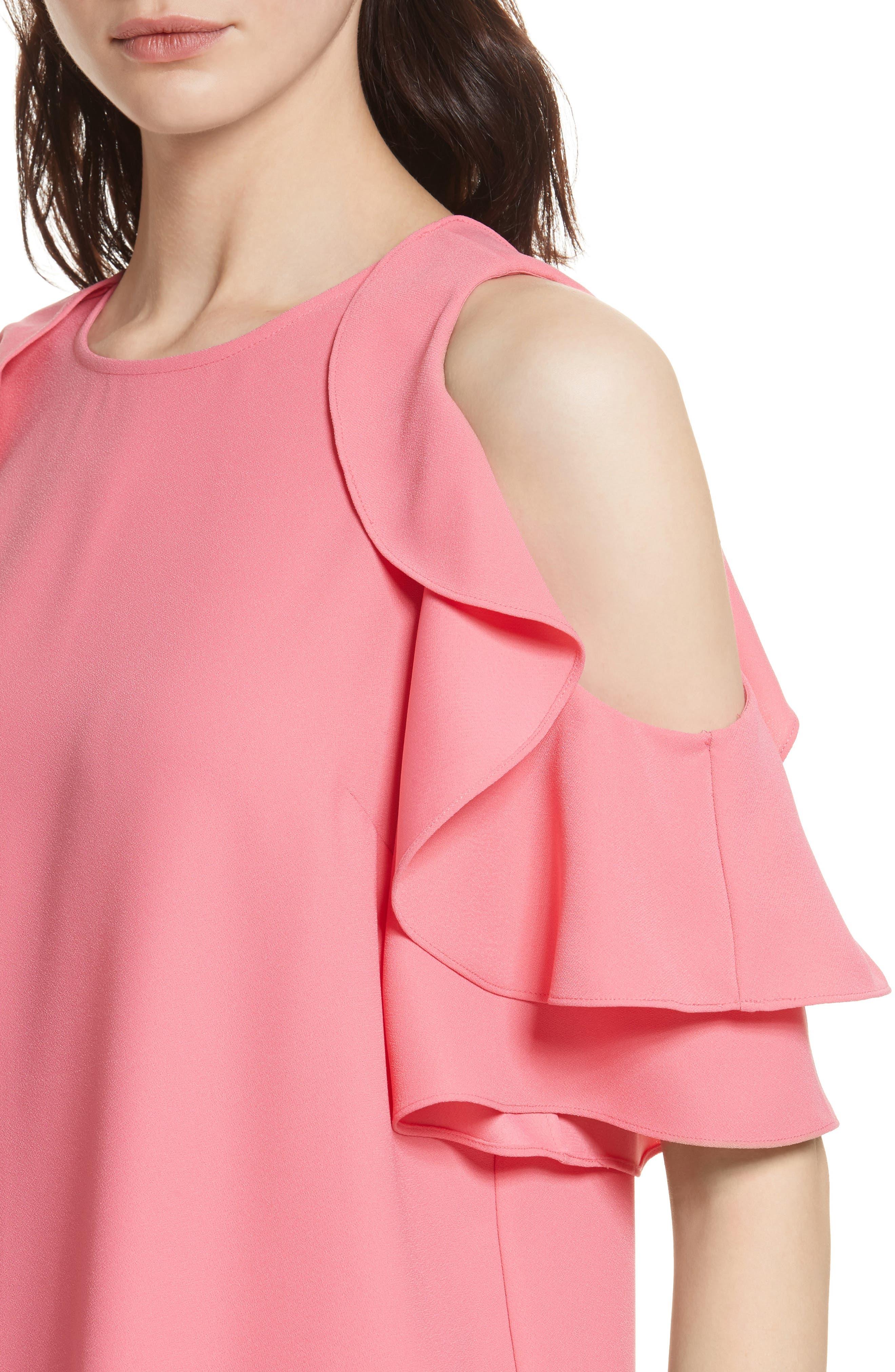 cold shoulder shift dress,                             Alternate thumbnail 4, color,                             Petunia