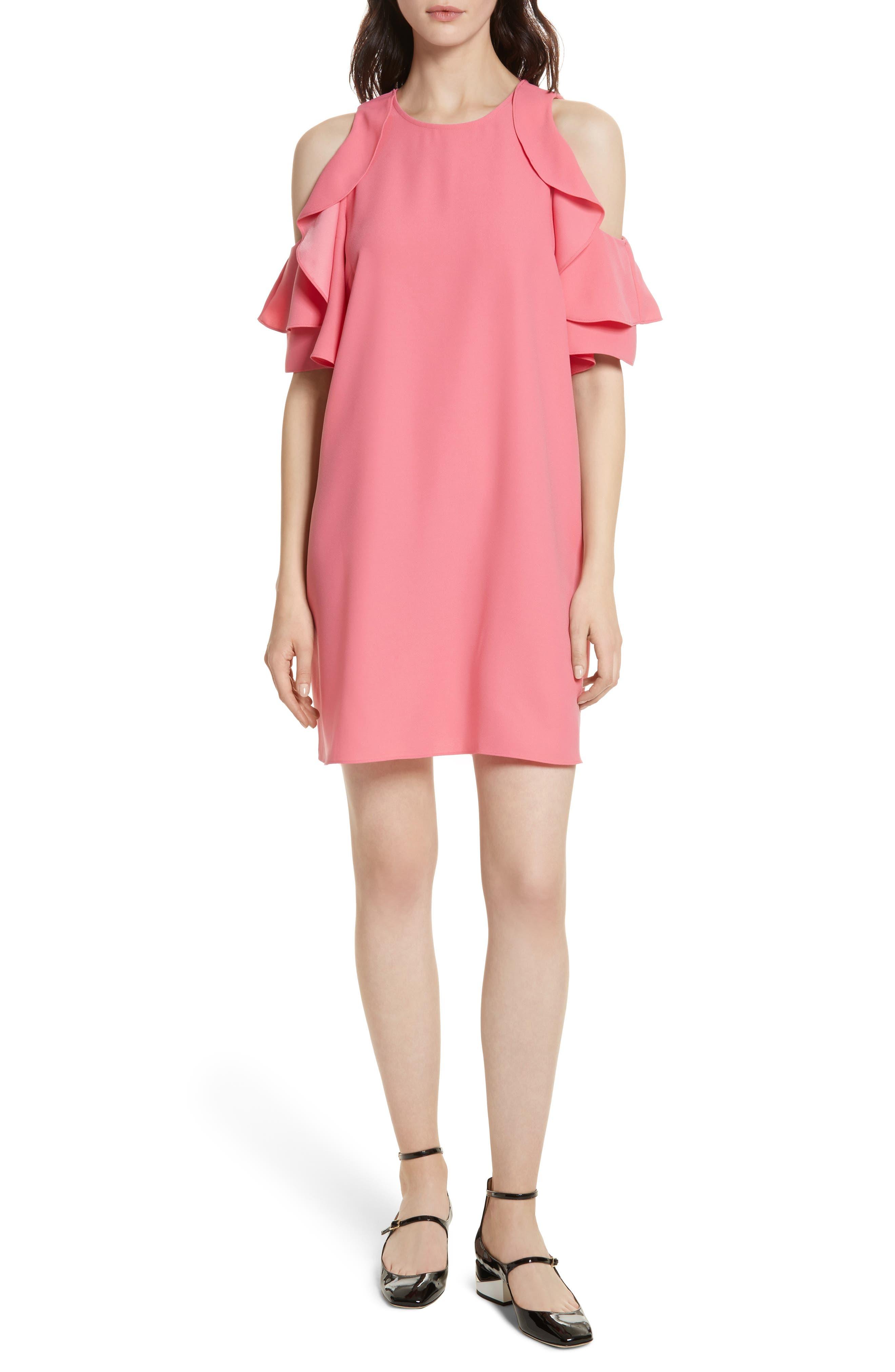 cold shoulder shift dress,                             Main thumbnail 1, color,                             Petunia