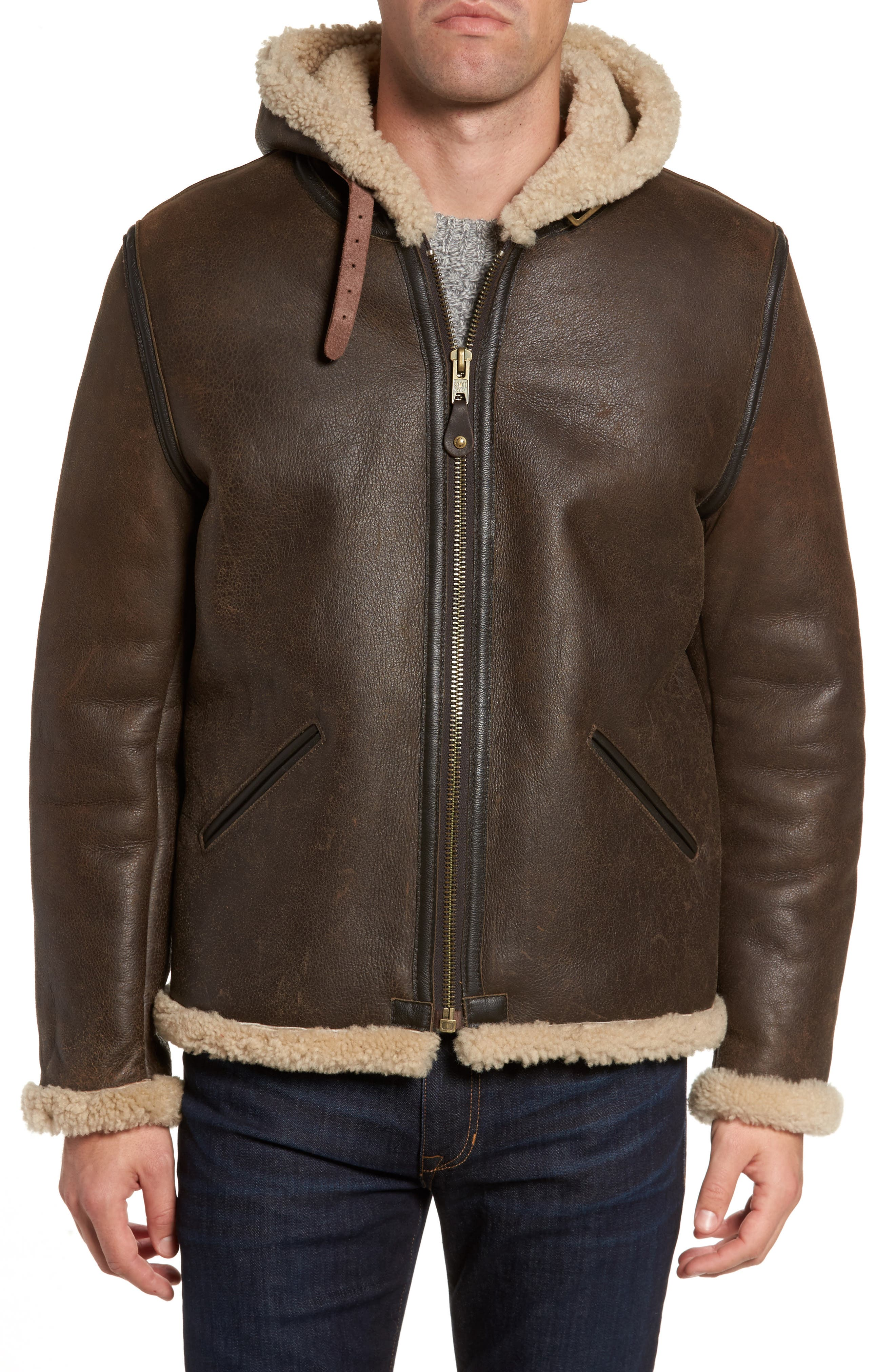 Genuine Shearling Vintage B-6 Hooded Bomber Jacket,                             Alternate thumbnail 4, color,                             Brown