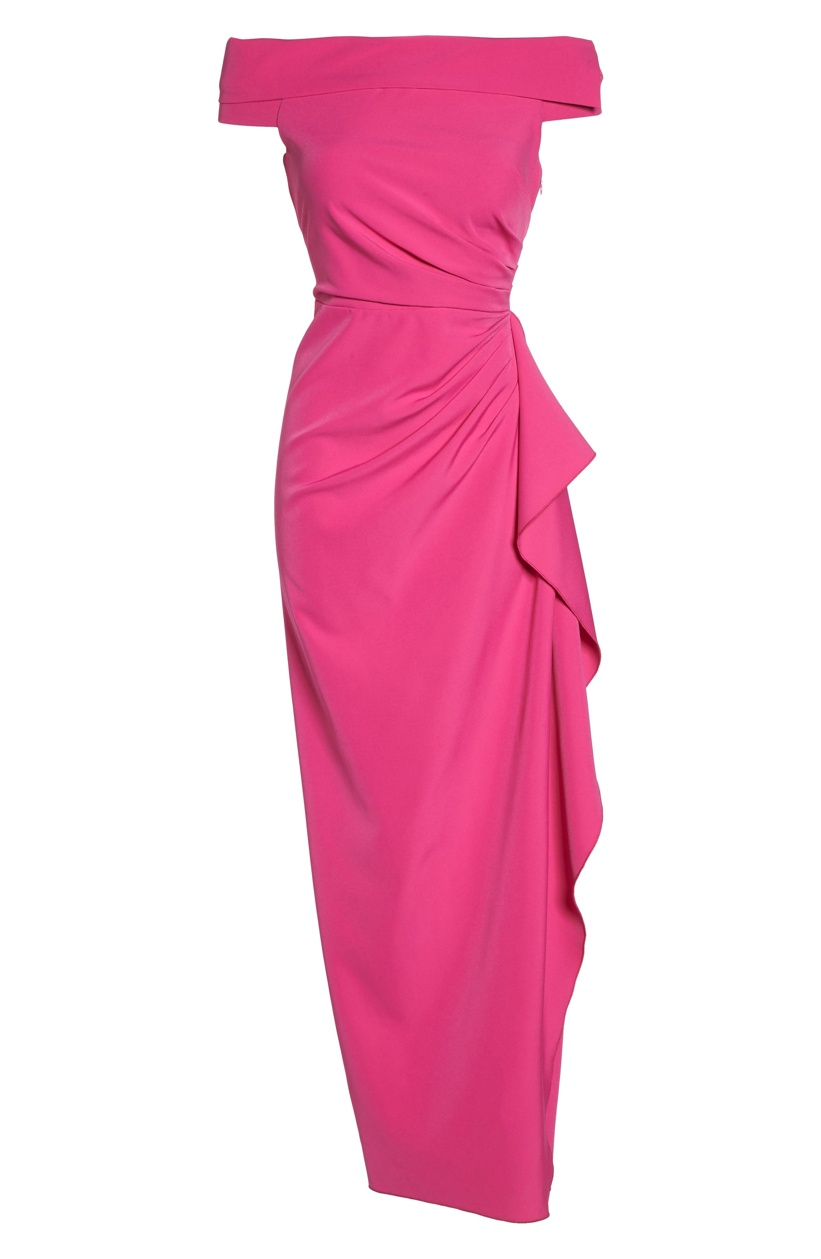 Off the Shoulder Crepe Gown,                             Alternate thumbnail 6, color,                             Fuchsia