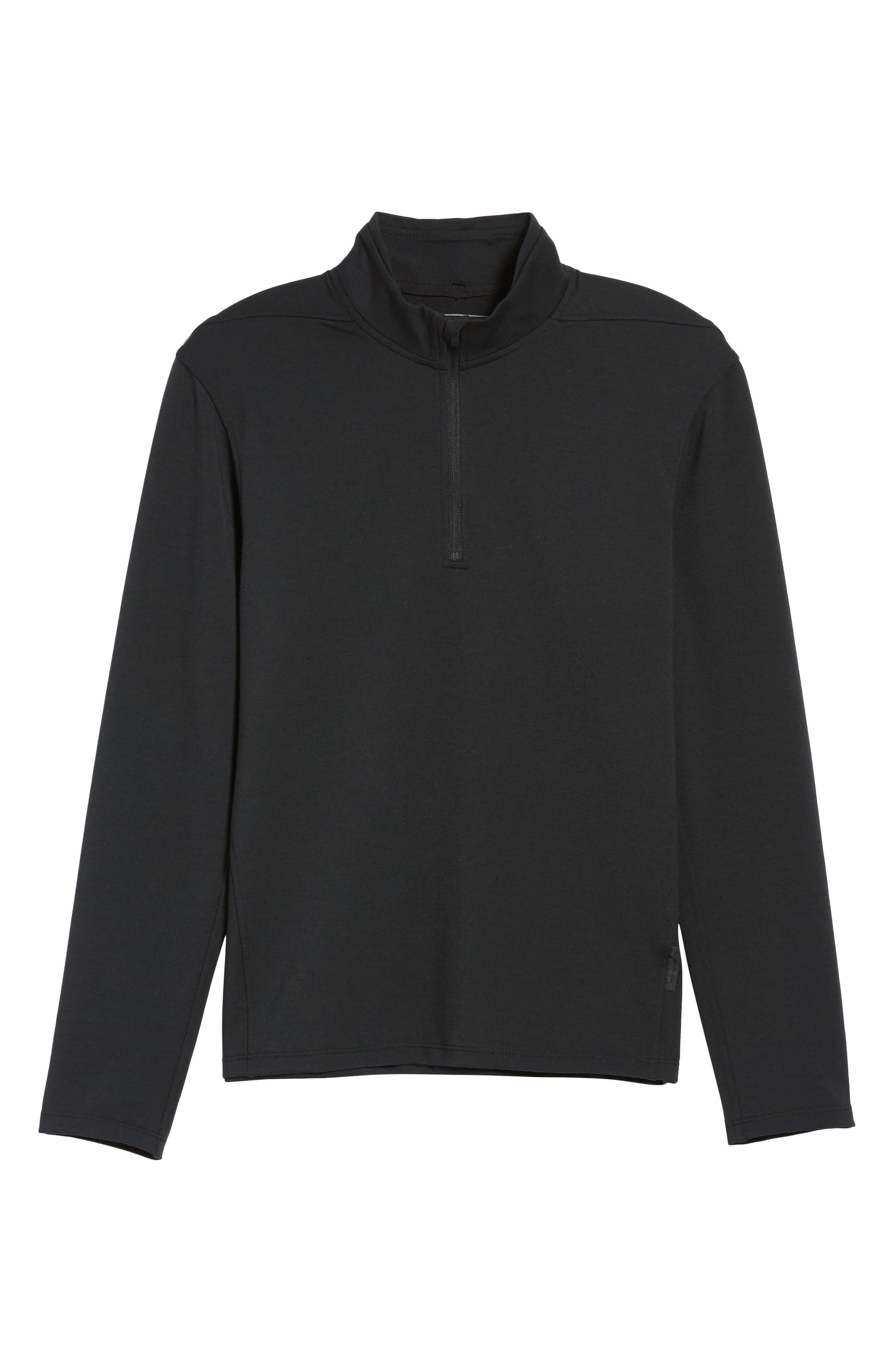 Distance Quarter Zip Pullover,                             Alternate thumbnail 6, color,                             Black