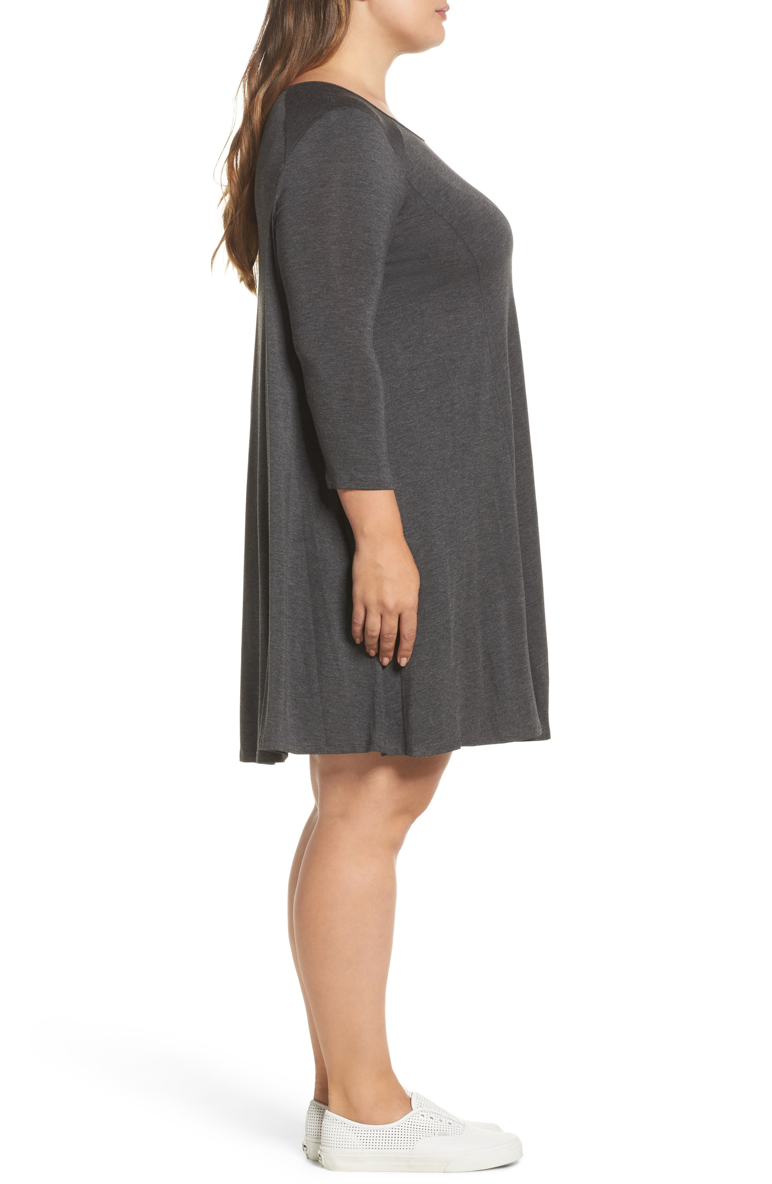Swing Dress,                             Alternate thumbnail 3, color,                             Charcoal Grey