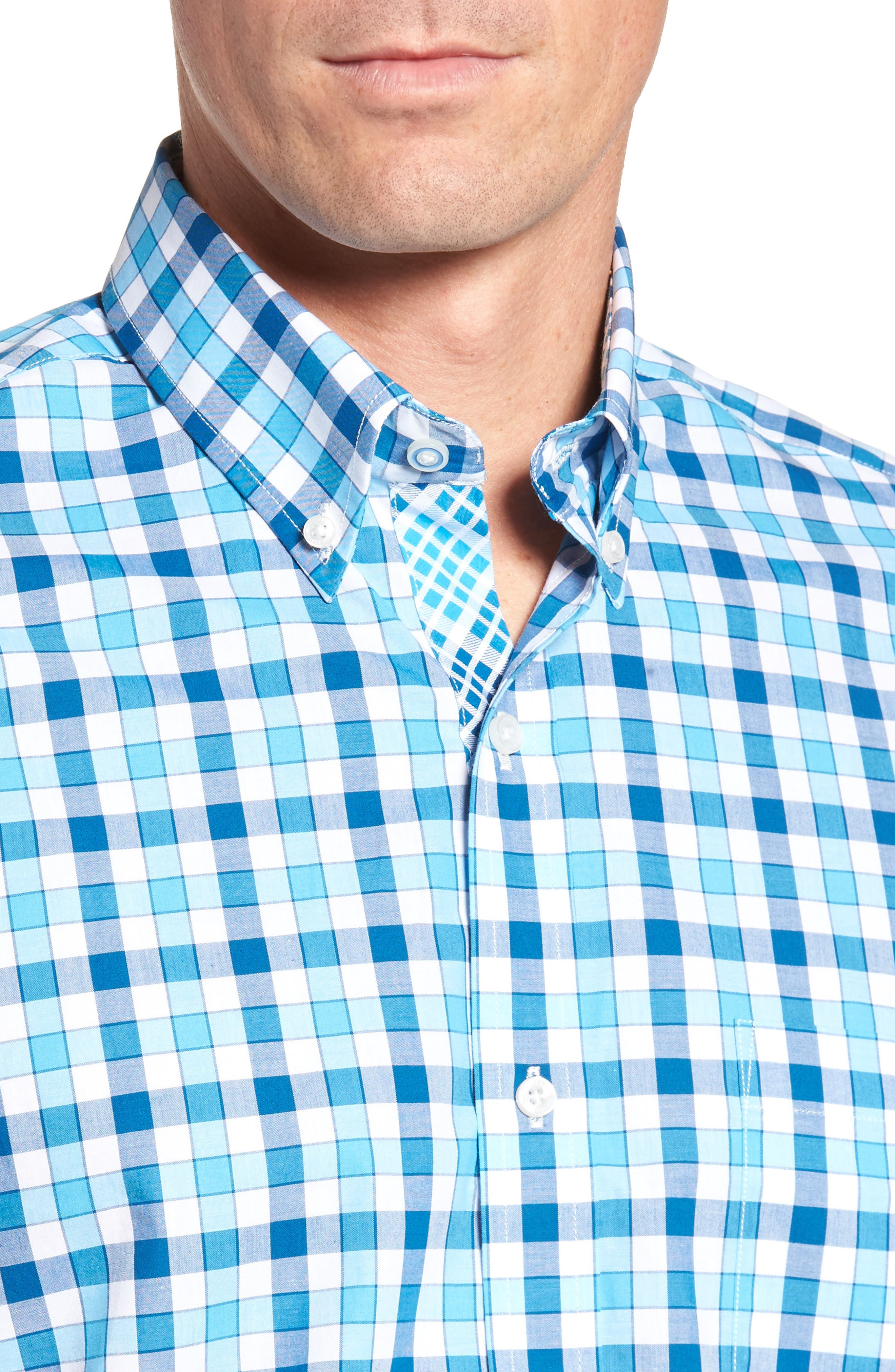 West We Go Regular Fit Plaid Sport Shirt,                             Alternate thumbnail 4, color,                             Aqua