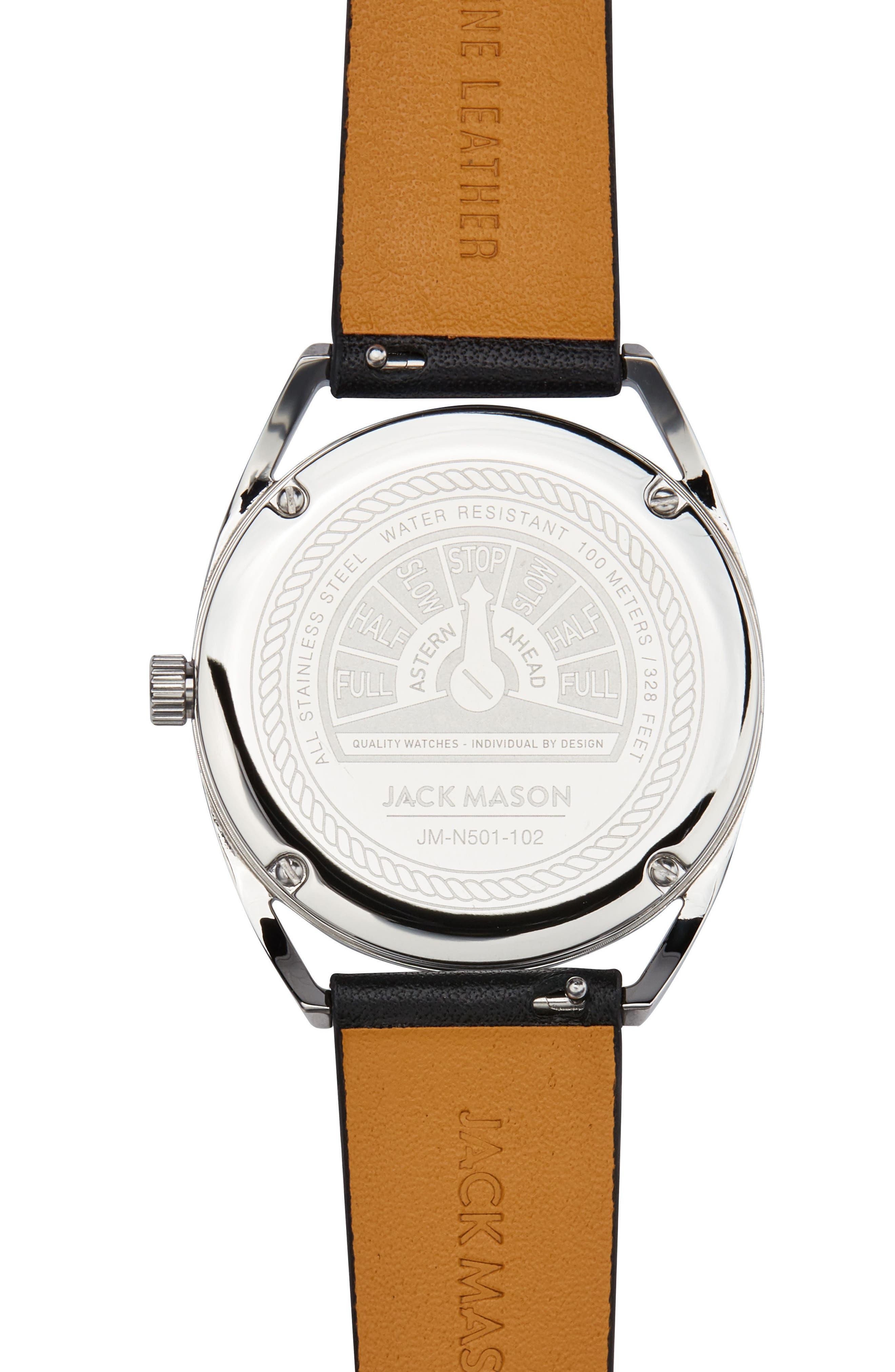 Deck Leather Strap Watch, 36mm,                             Alternate thumbnail 3, color,                             Black/ Blue/ Silver