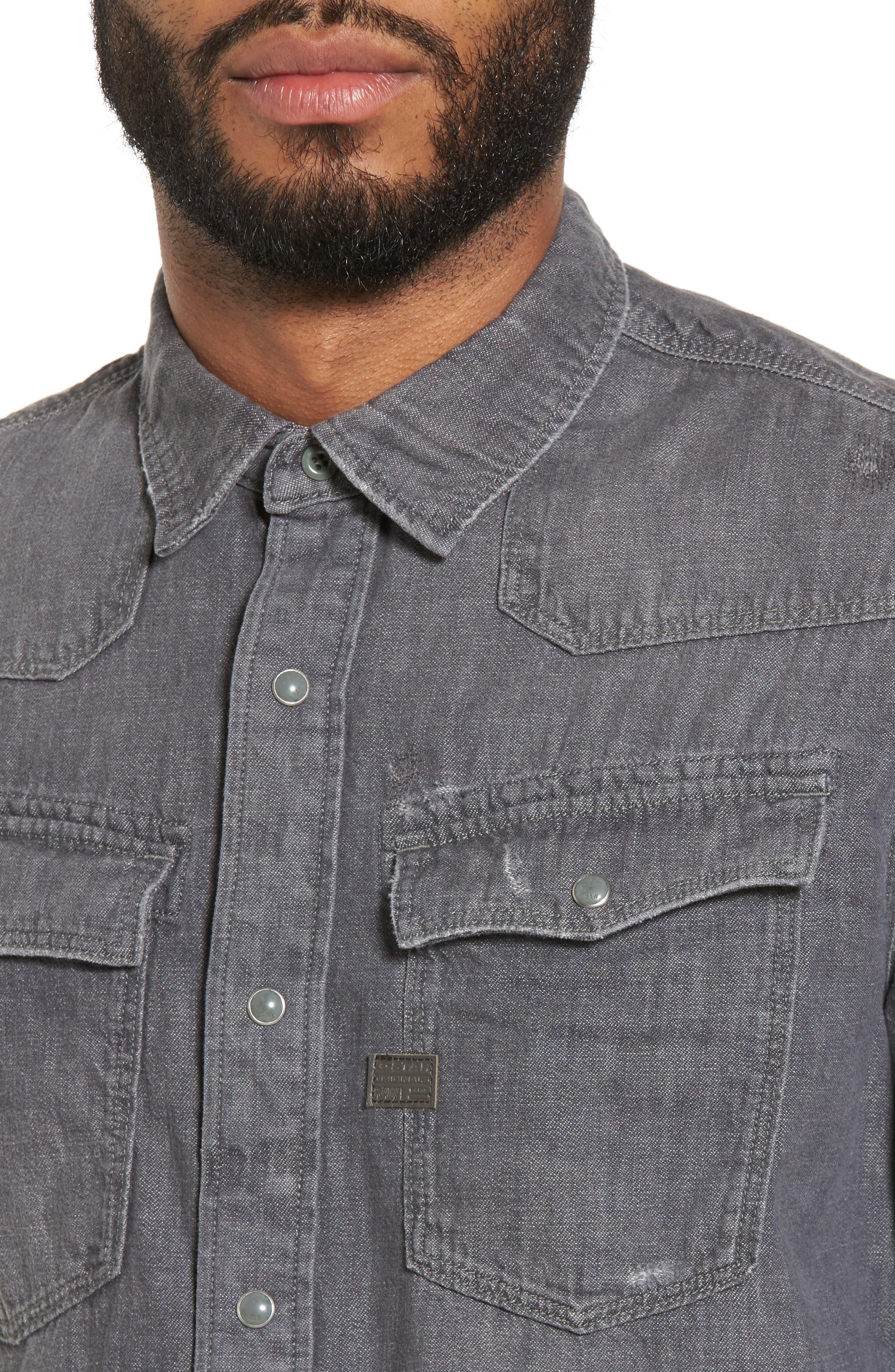 3301 Craser Denim Shirt,                             Alternate thumbnail 4, color,                             Medium Aged Restored