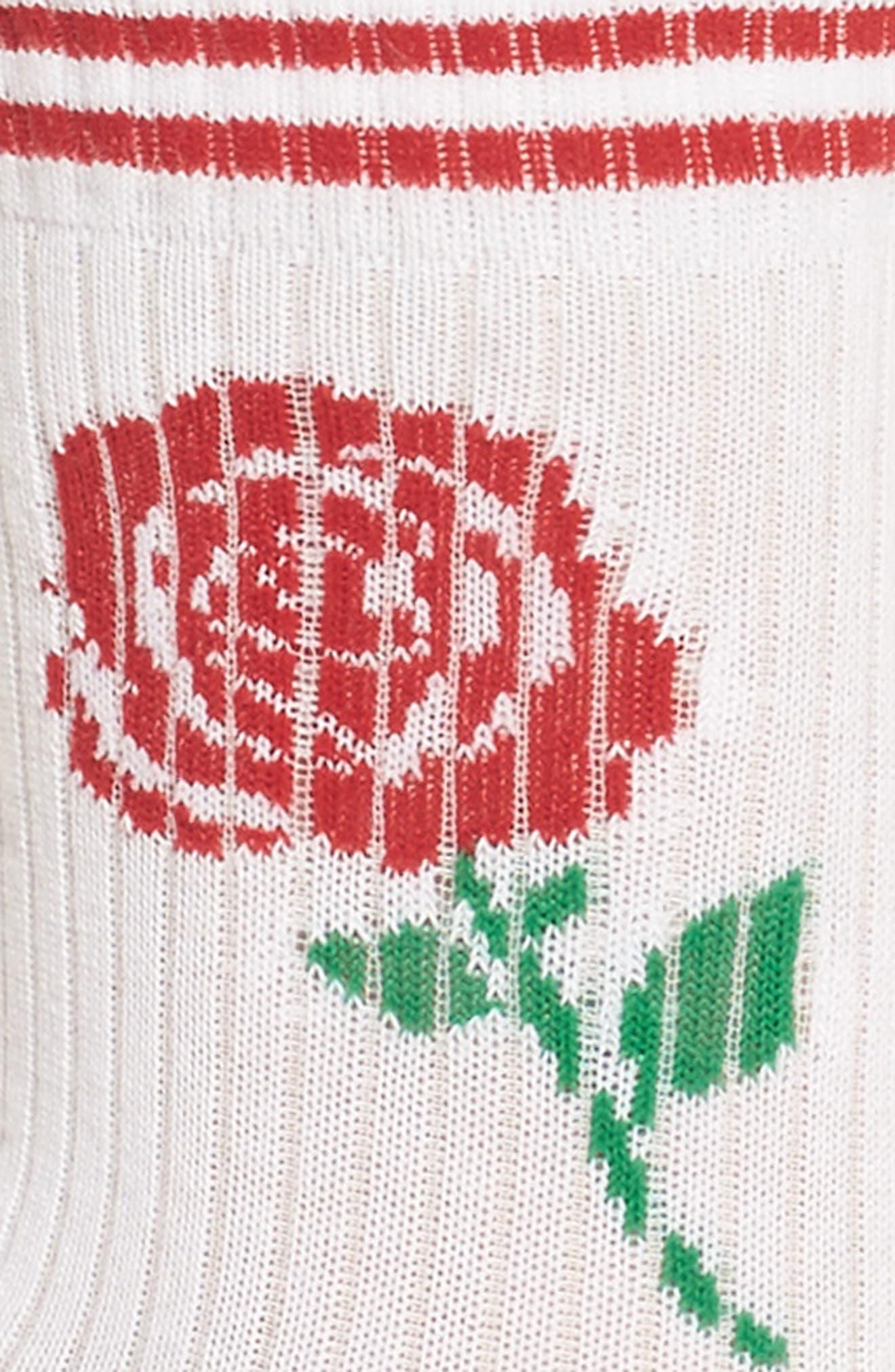 Sporty Crew Socks,                             Alternate thumbnail 2, color,                             White Rose