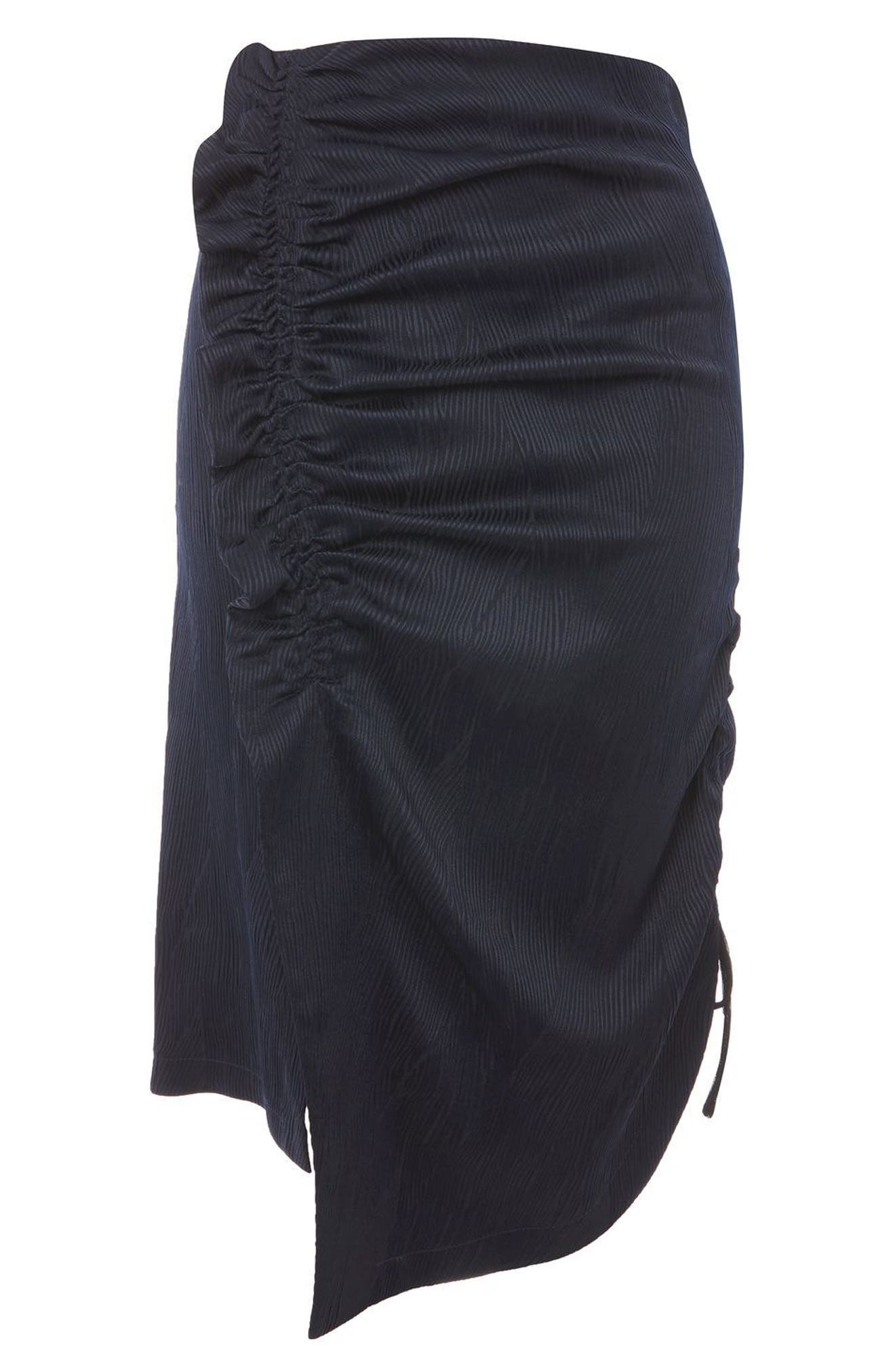 Ruched Skirt,                             Alternate thumbnail 3, color,                             Navy Blue