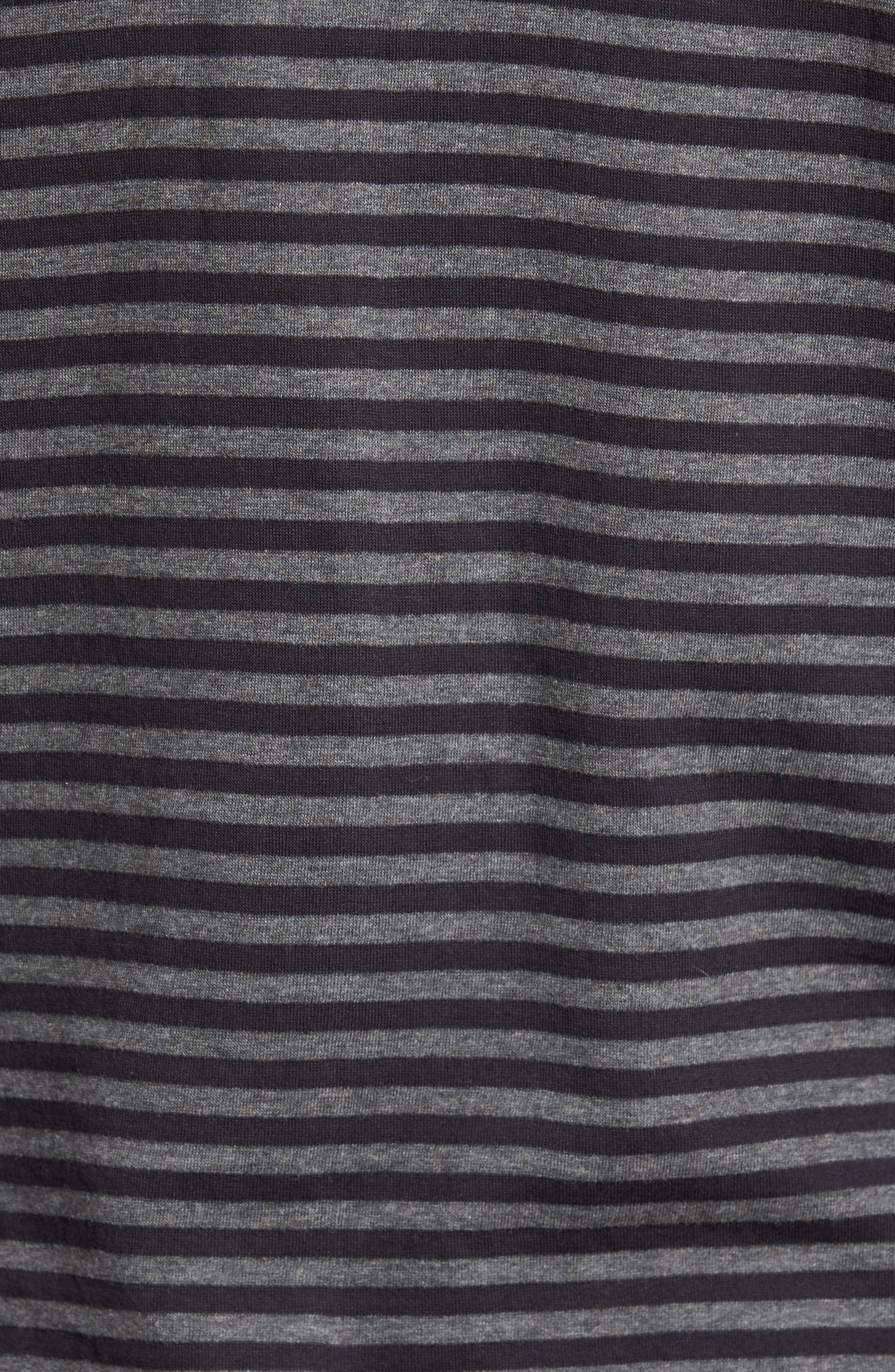 Alternative Stripe Long Sleeve T-Shirt,                             Alternate thumbnail 5, color,                             Charcoal Melange/ Black