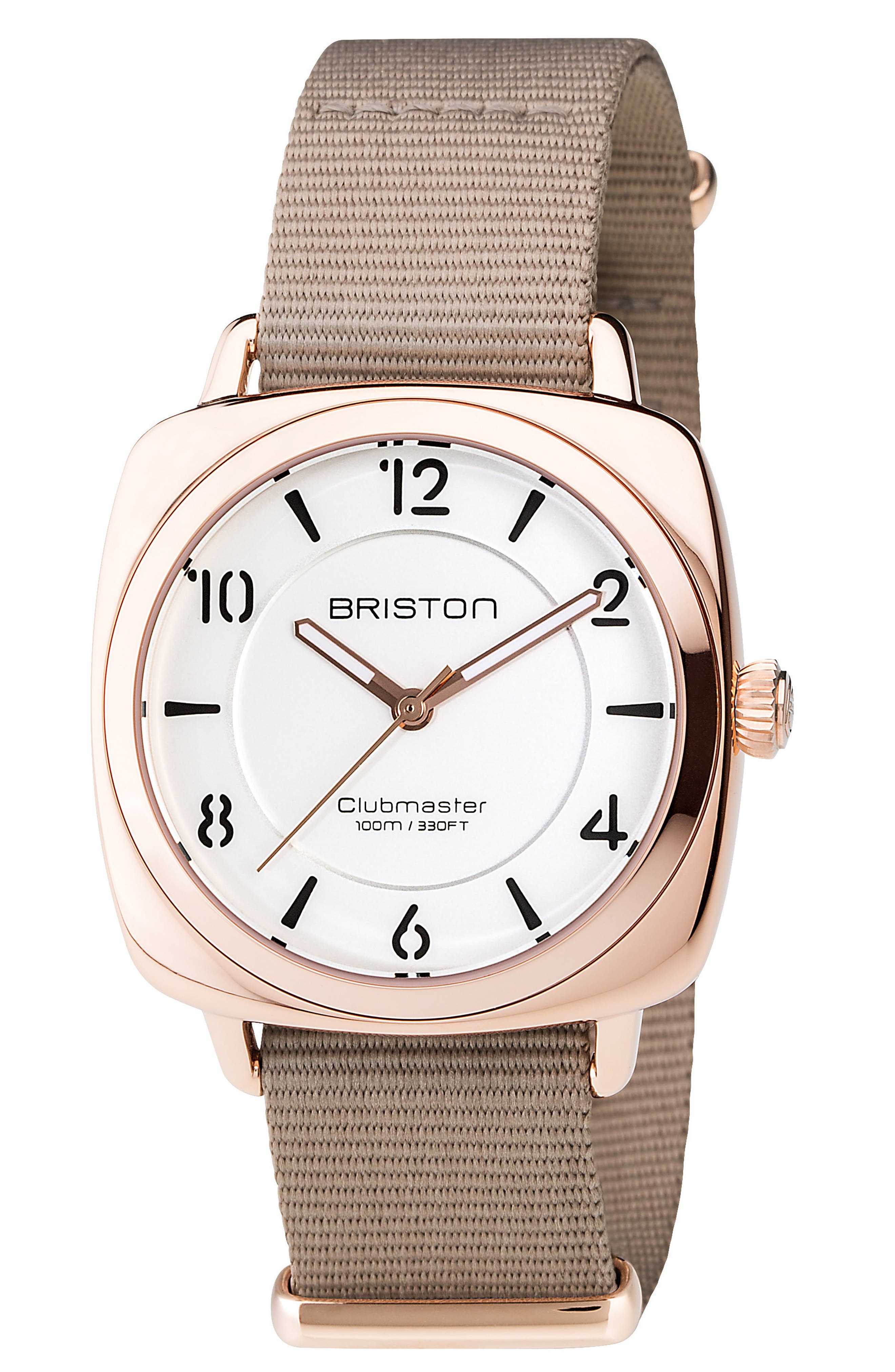 Clubmaster Chic Nylon Strap Watch, 36mm,                         Main,                         color, Taupe/ White/ Silver