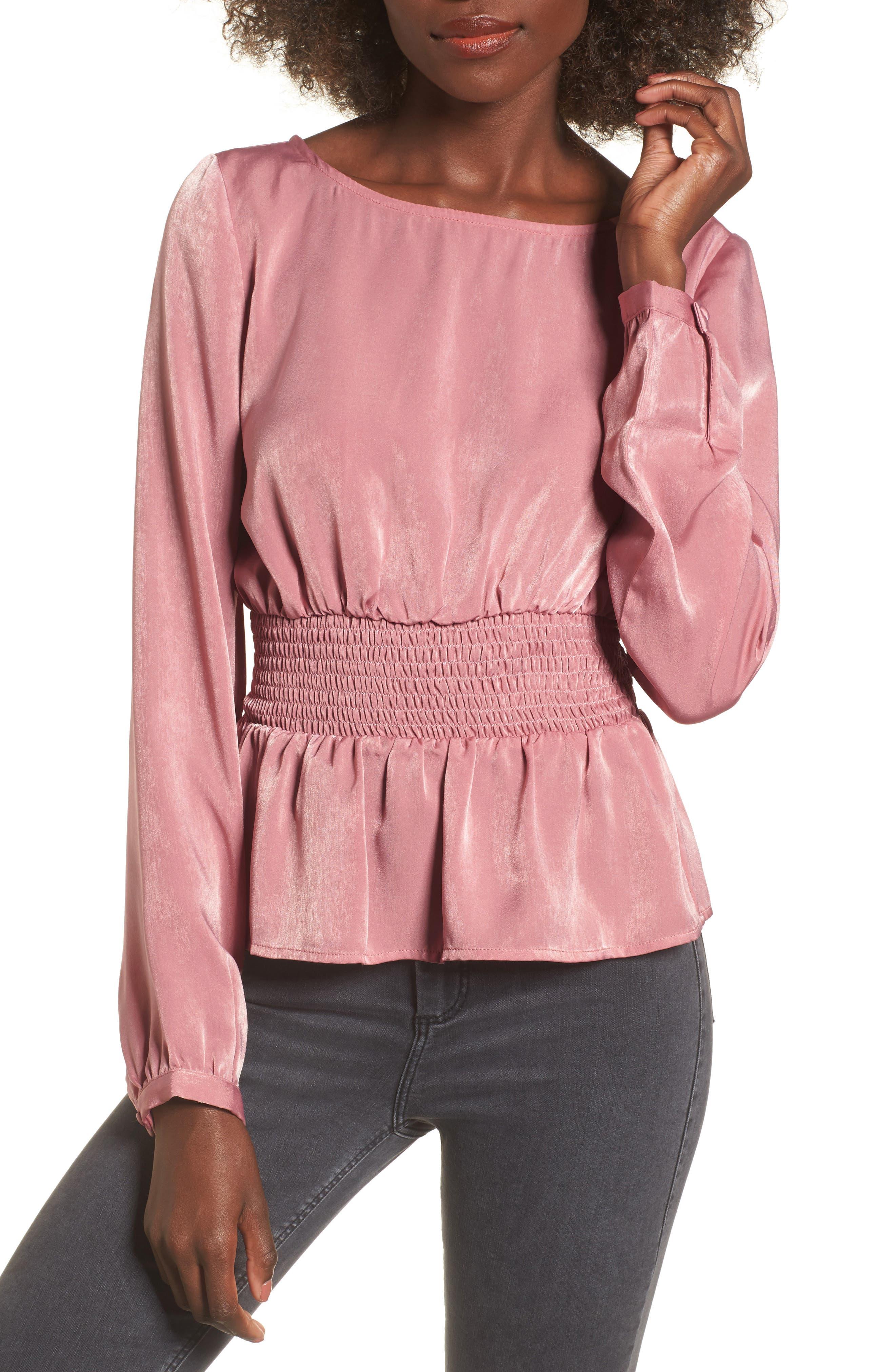 Peplum Top,                         Main,                         color, Dusty Pink