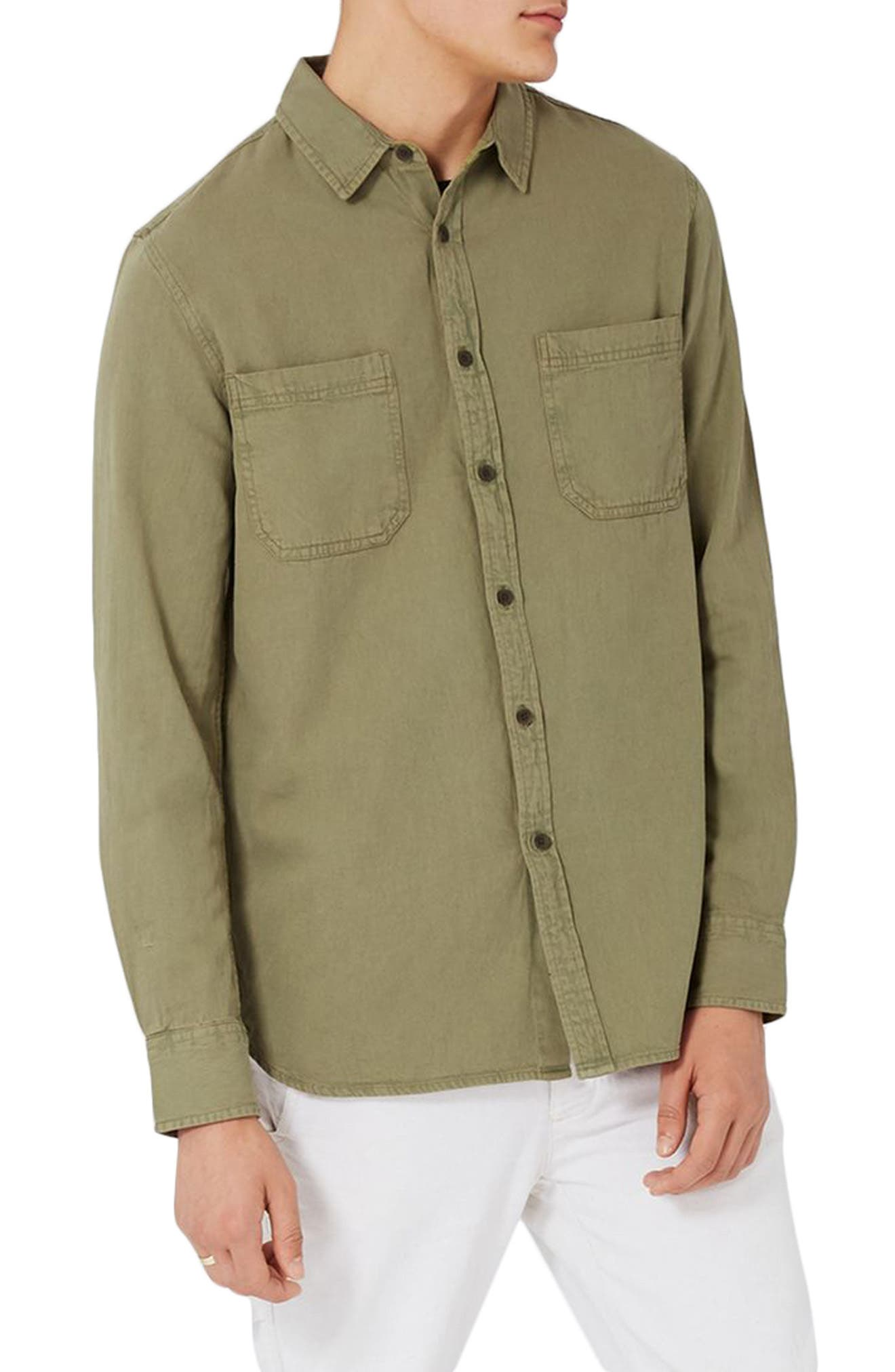 Trim Fit Washed Twill Shirt,                         Main,                         color, Olive