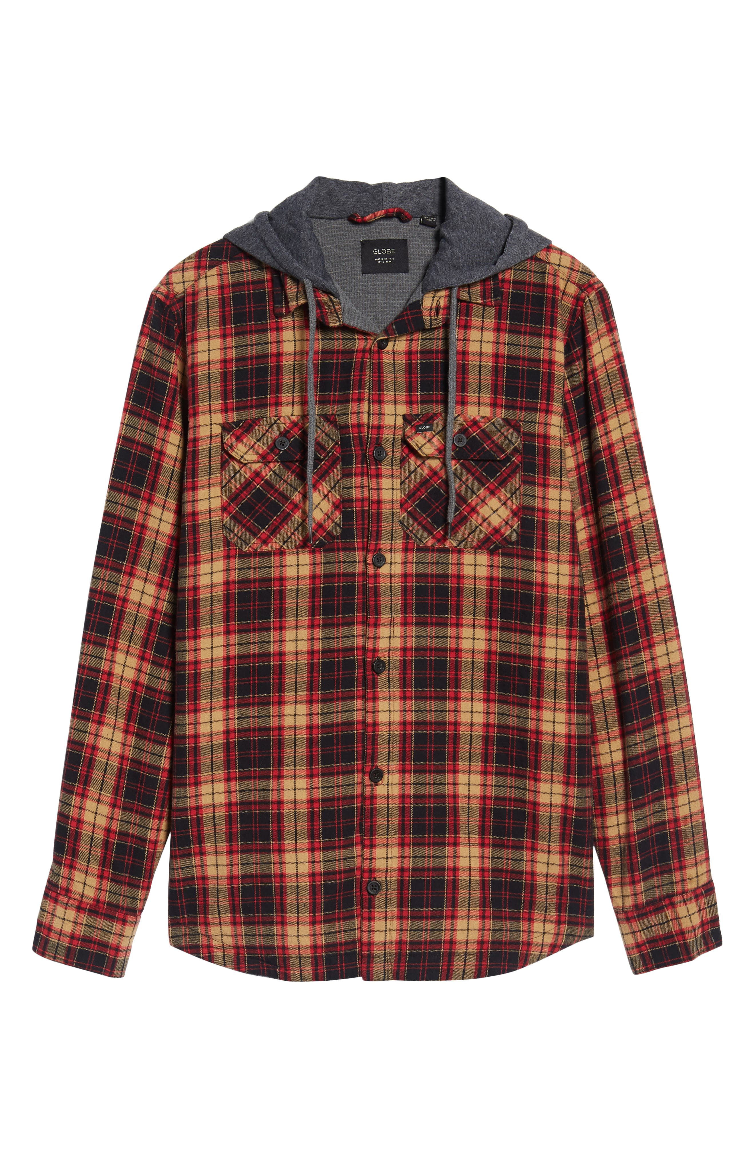 'Alford' Trim Fit Long Sleeve Plaid Hooded Shirt,                             Alternate thumbnail 6, color,                             Tobacco