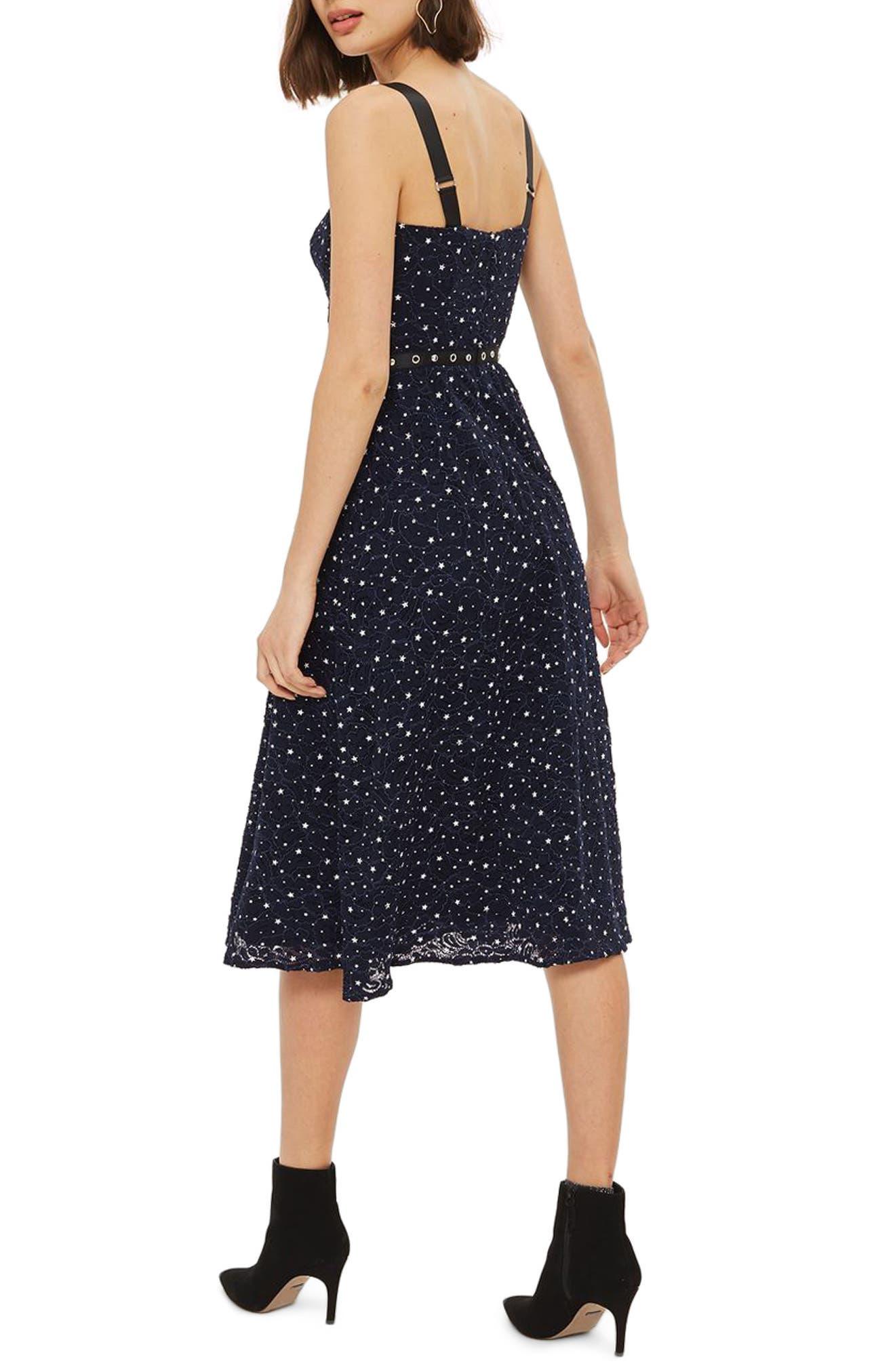 Star Lace Bustier Midi Dress,                             Alternate thumbnail 2, color,                             Navy Blue Multi