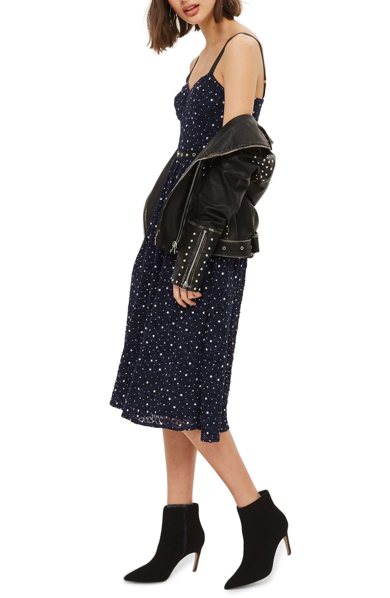 Star Lace Bustier Midi Dress,                         Main,                         color, Navy Blue Multi