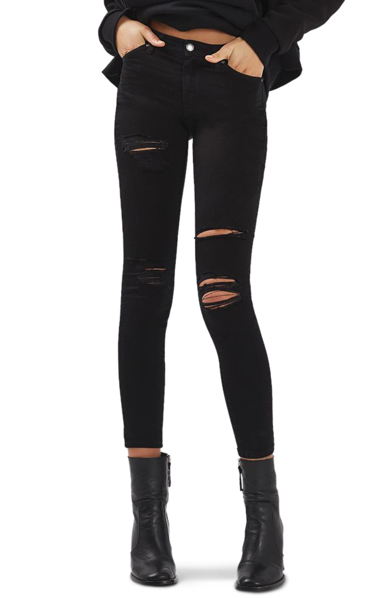 Leigh Super Rip Skinny Jeans,                         Main,                         color, Black