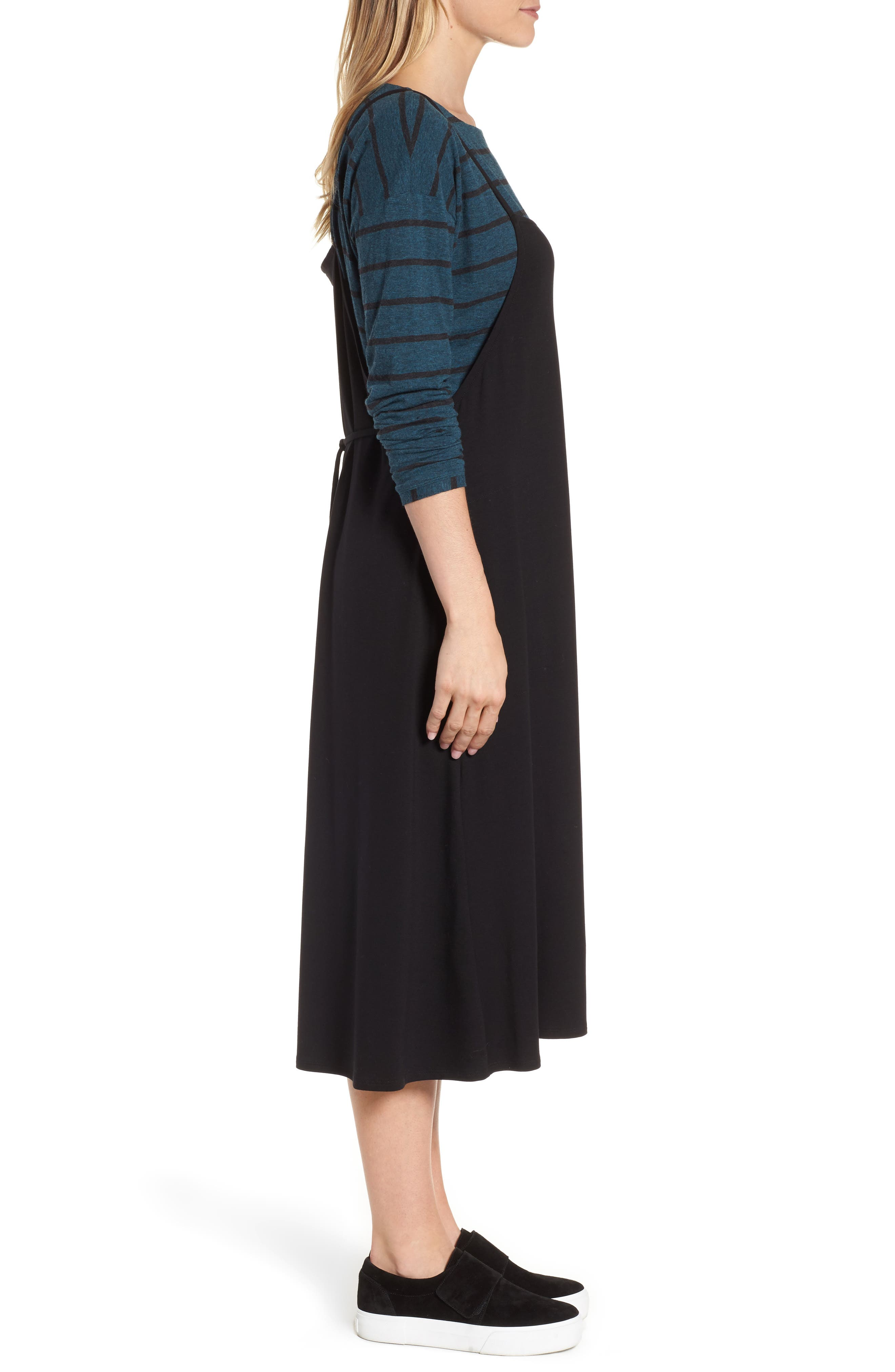 Stretch Tencel<sup>®</sup> Lyocell Jumper Dress,                             Alternate thumbnail 3, color,                             Black