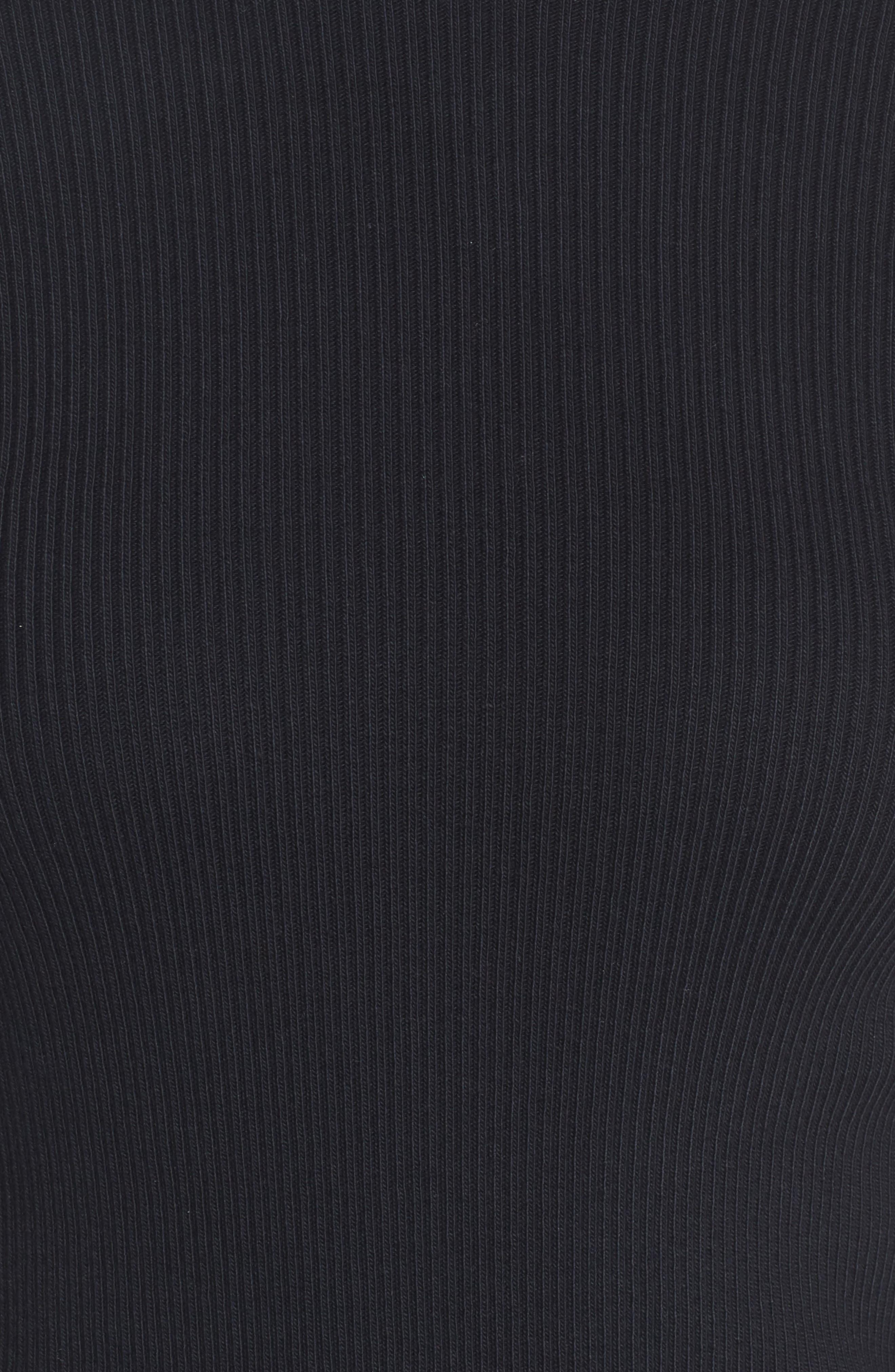 The Ruffle Ribbed Tee,                             Alternate thumbnail 5, color,                             Black