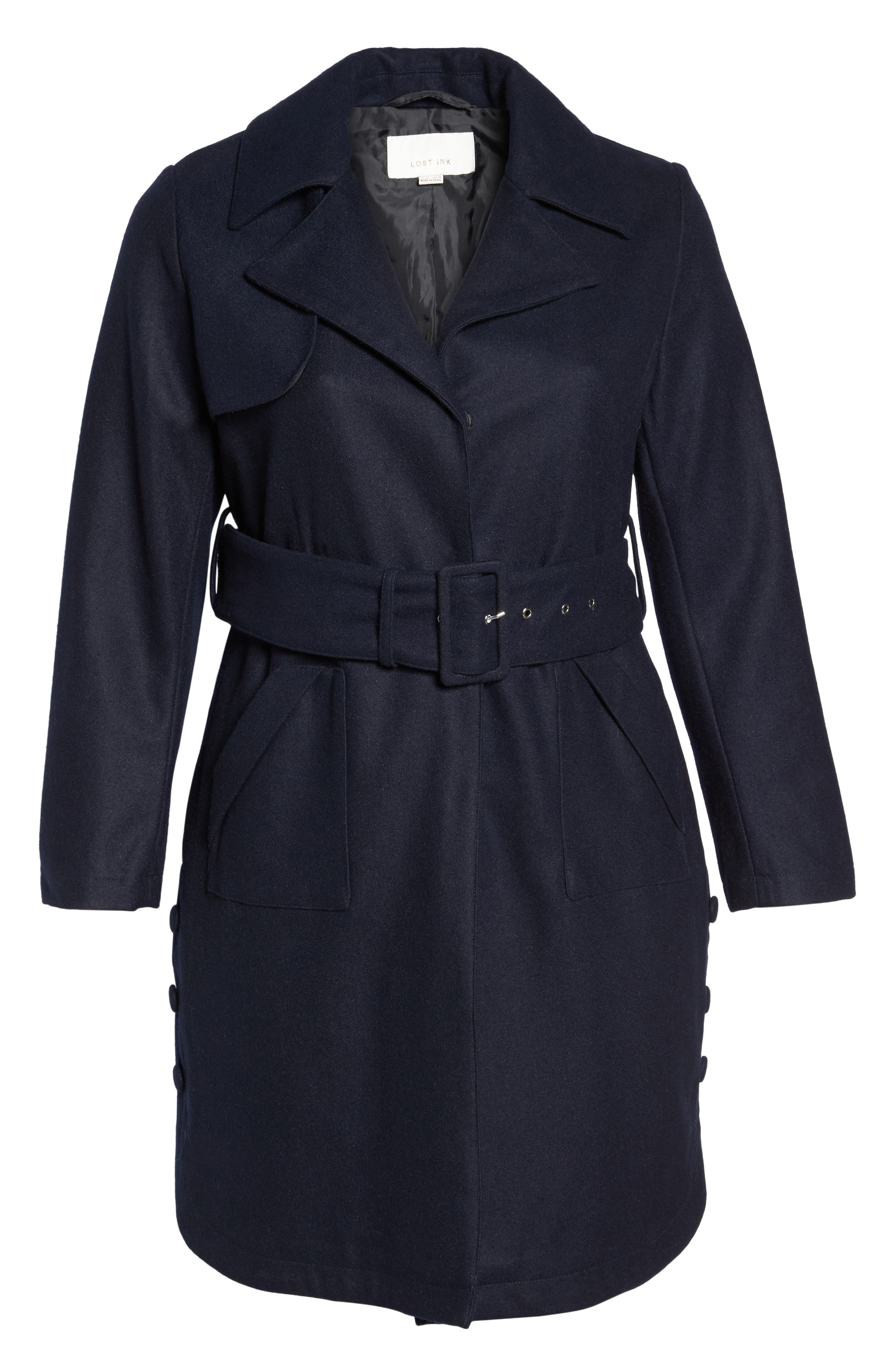 Alternate Image 6  - Lost Ink Wool Blend Trench Coat (Plus Size)