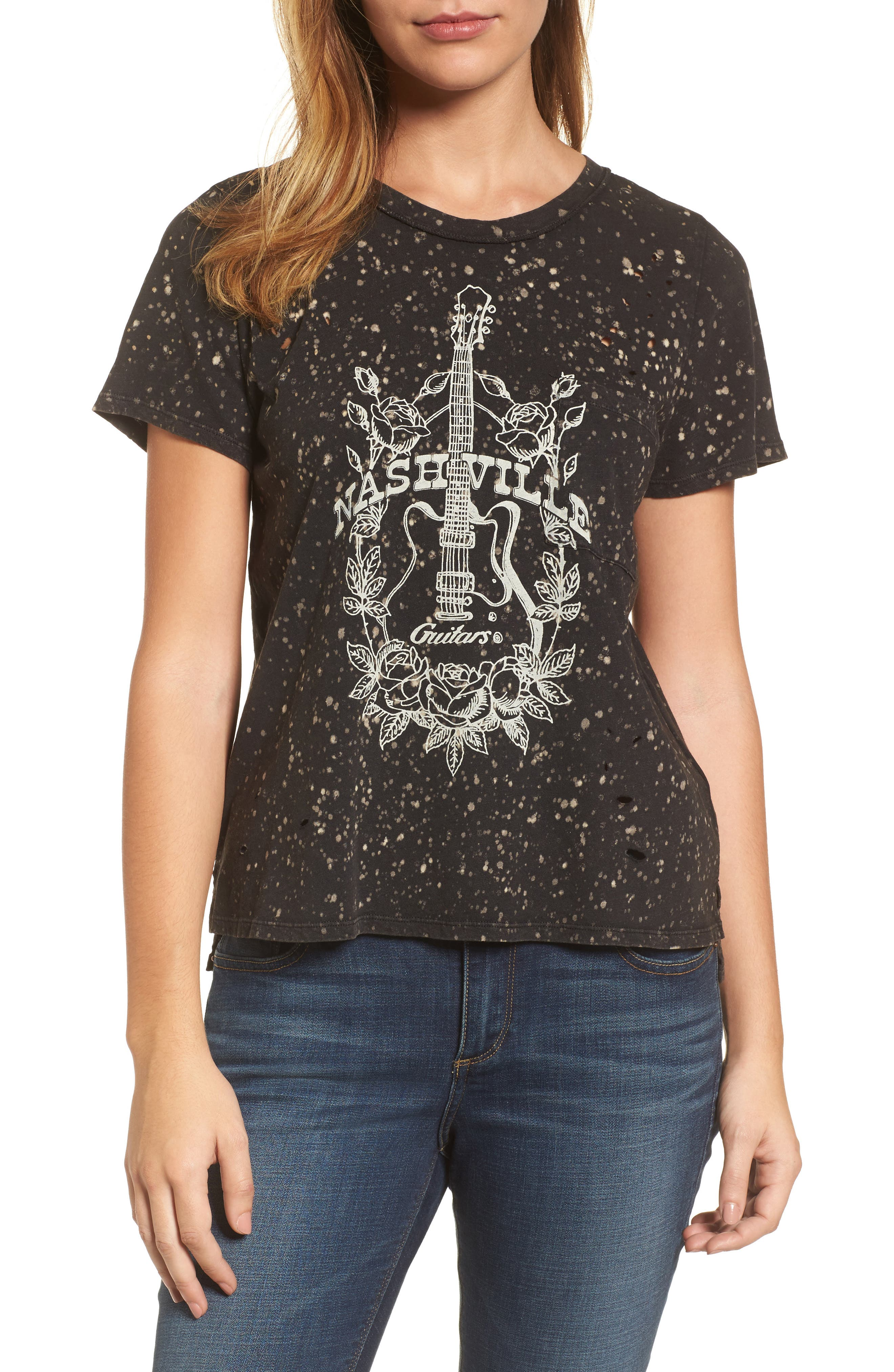 Nashville Guitars Distressed Tee,                             Main thumbnail 1, color,                             Lucky Black