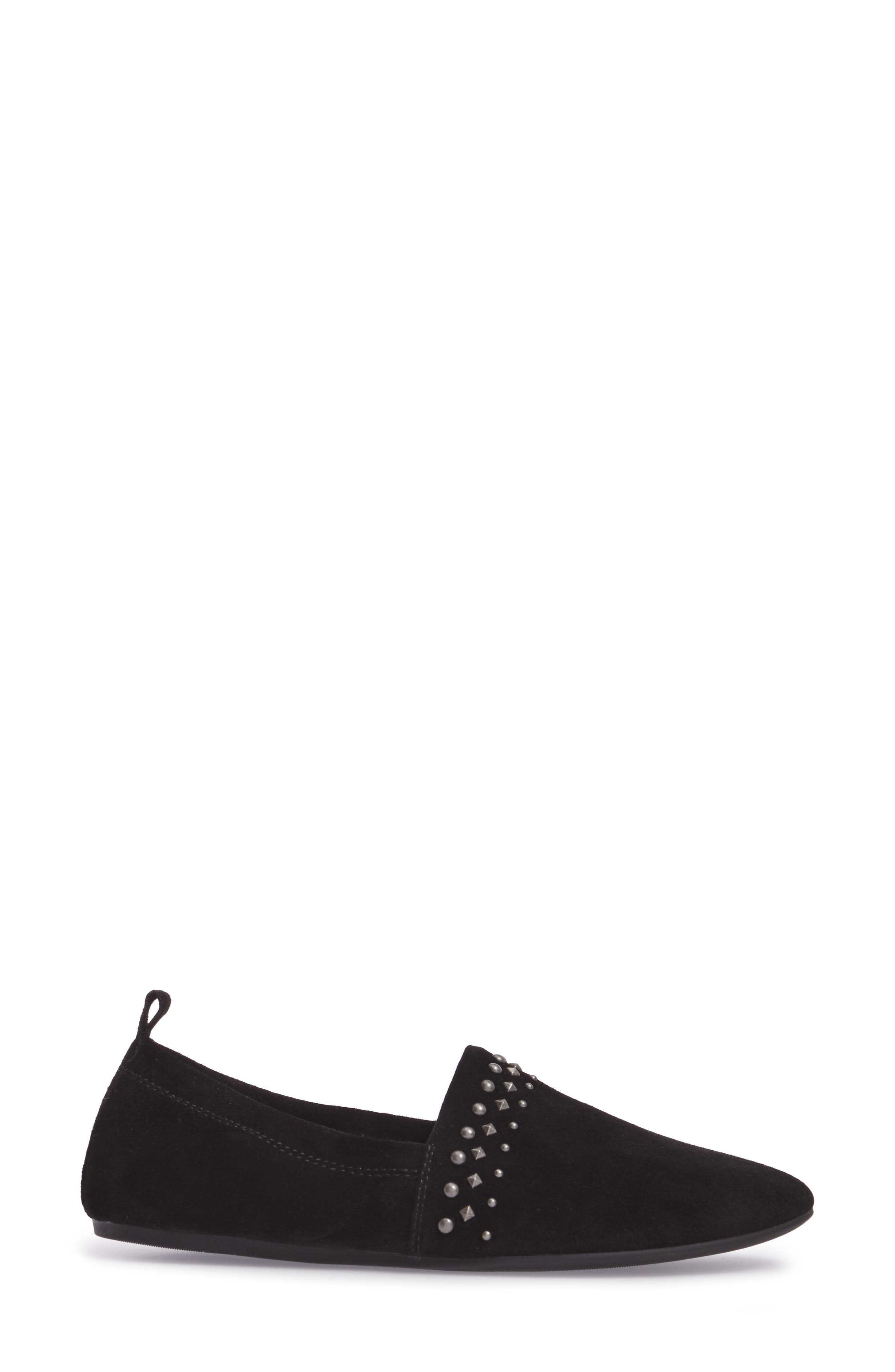 Baako Studded Flat,                             Alternate thumbnail 3, color,                             Black Suede