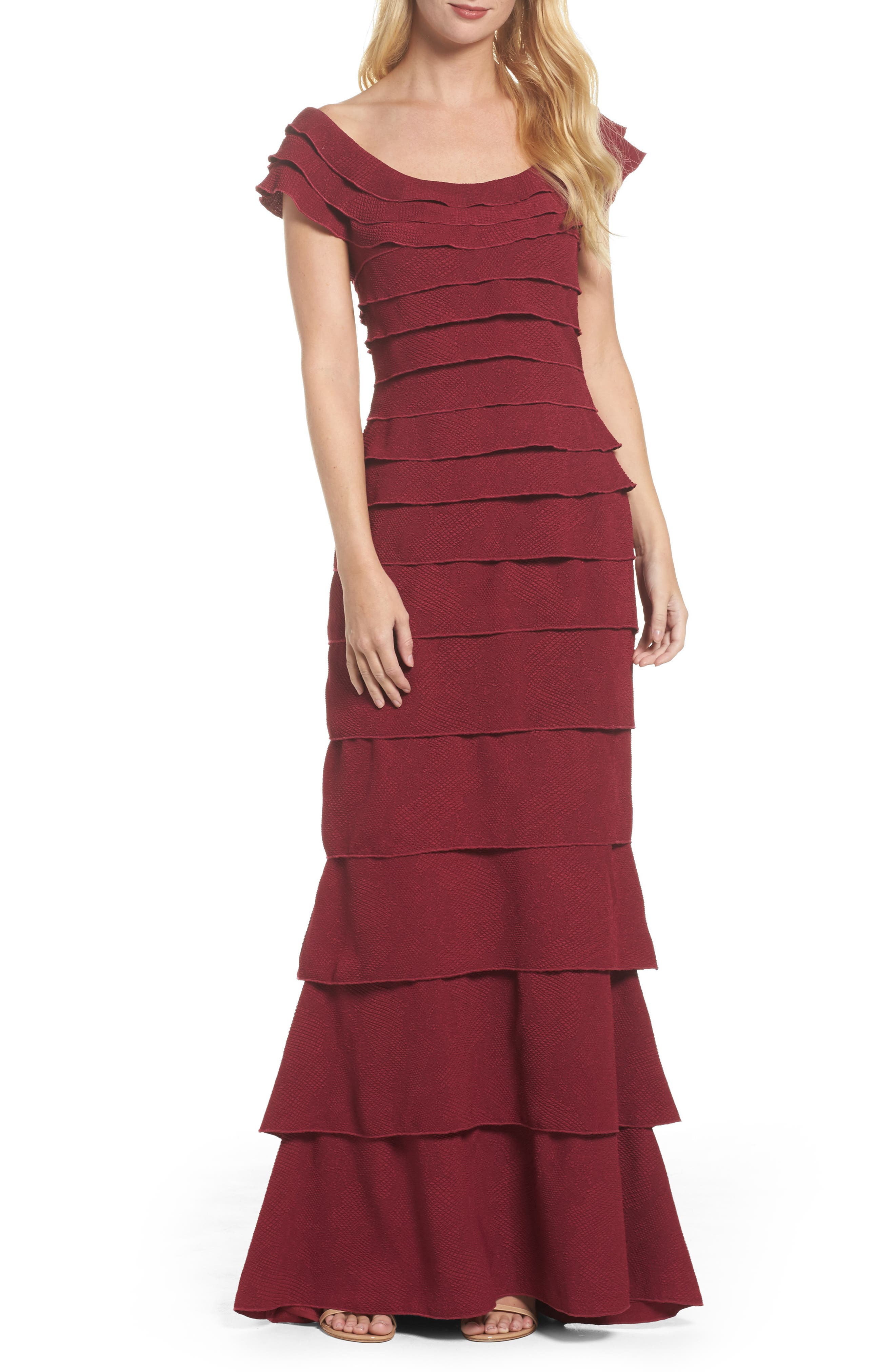 Tiered Crepe Gown,                             Main thumbnail 1, color,                             Wine