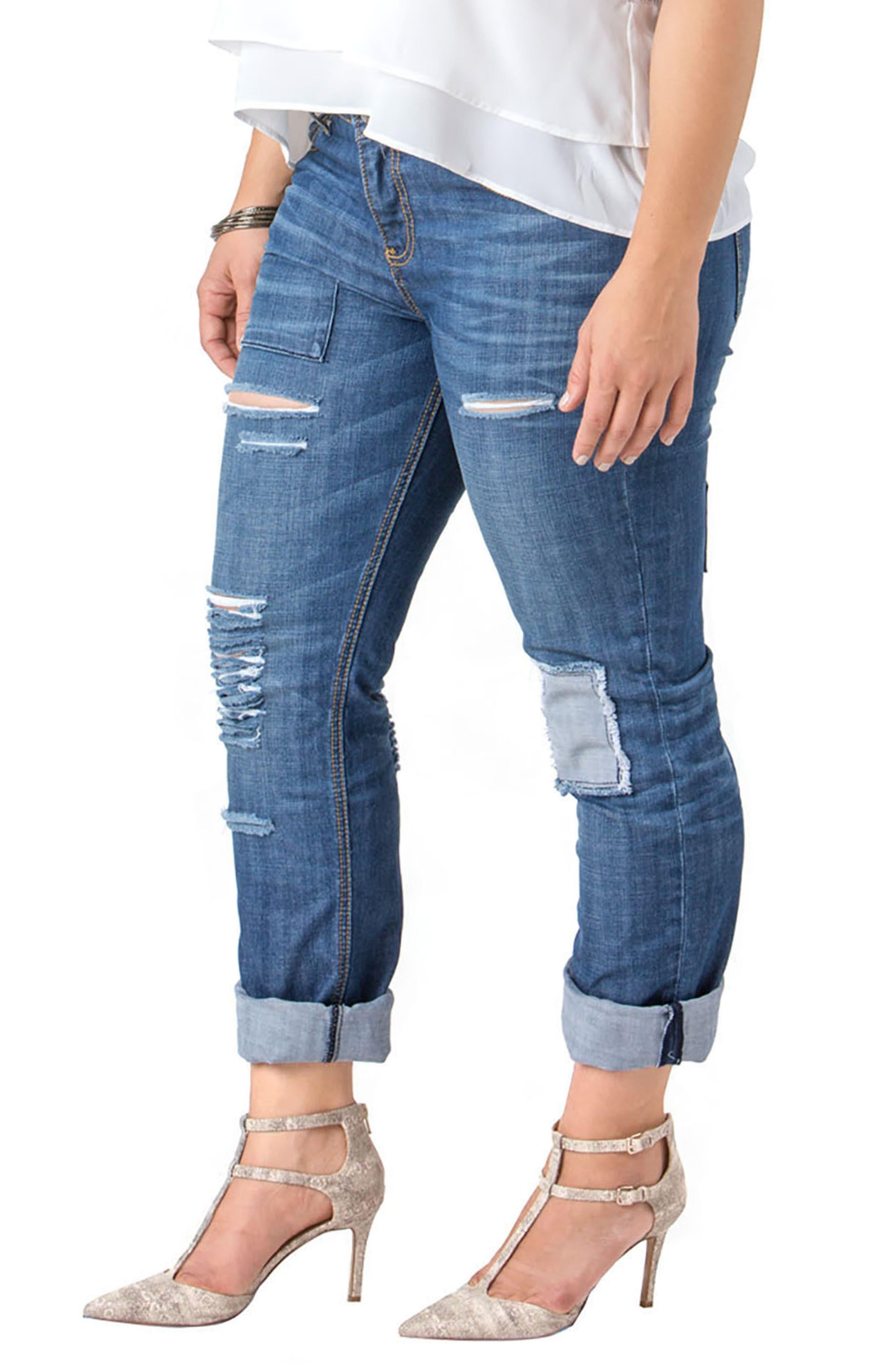Rip & Repair X-Boyfriend Jeans,                             Alternate thumbnail 3, color,                             Repair