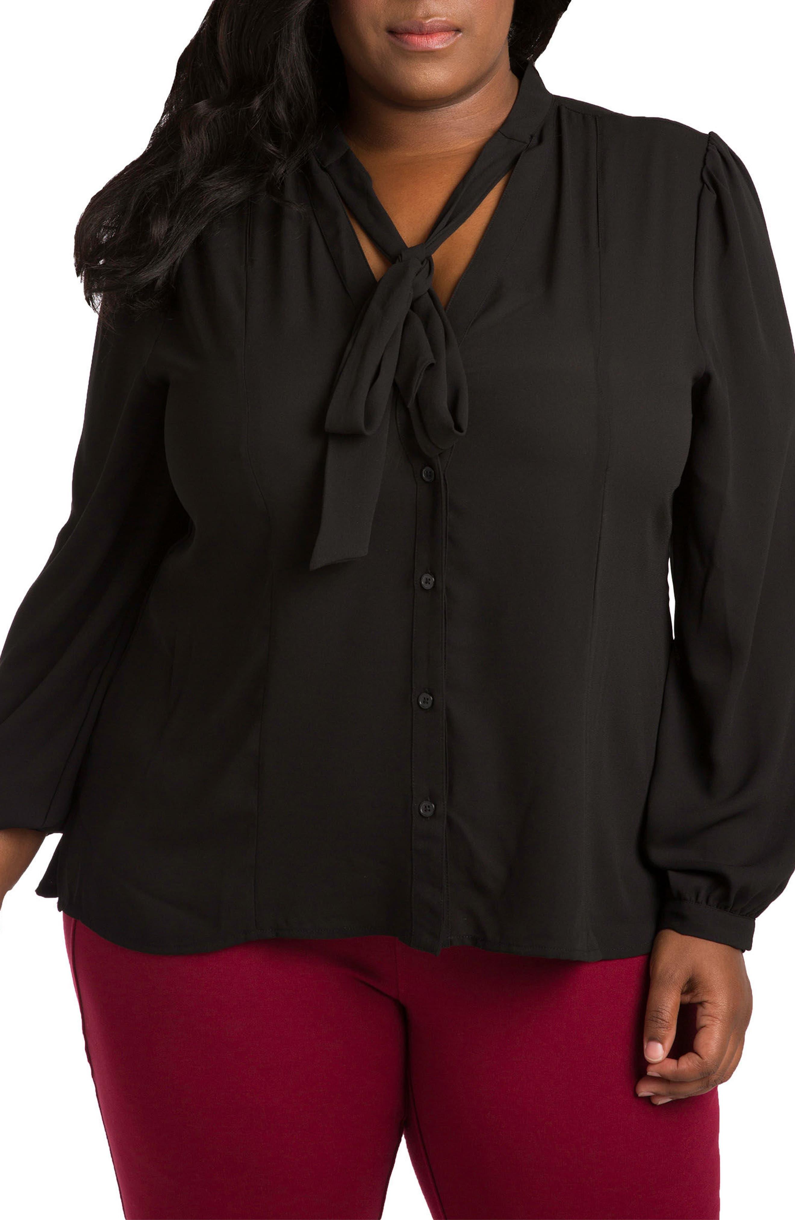 Tasha Tie Neck Chiffon Blouse,                         Main,                         color, Black