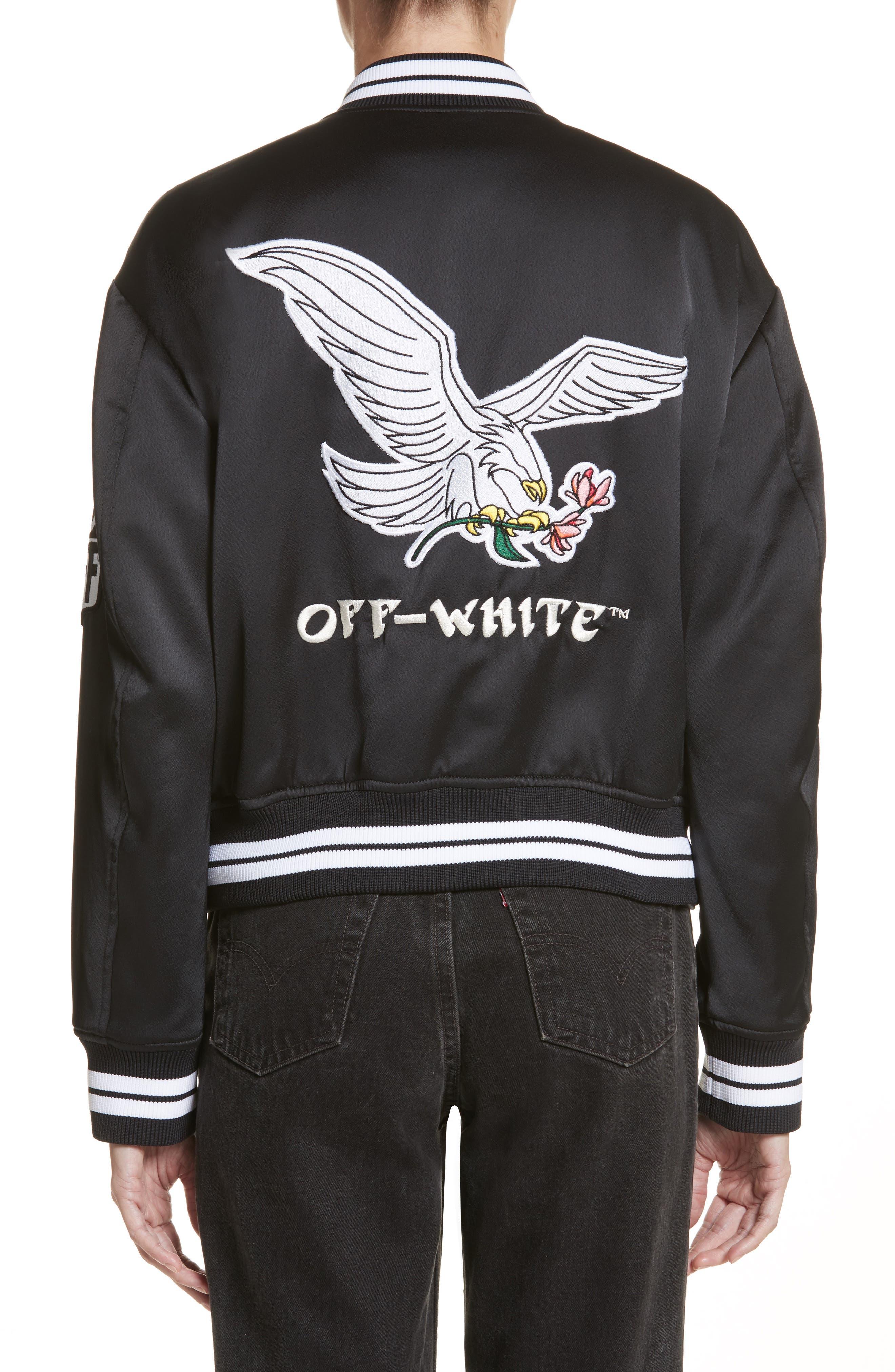 Varsity Bomber Jacket,                             Alternate thumbnail 2, color,                             Black/ White
