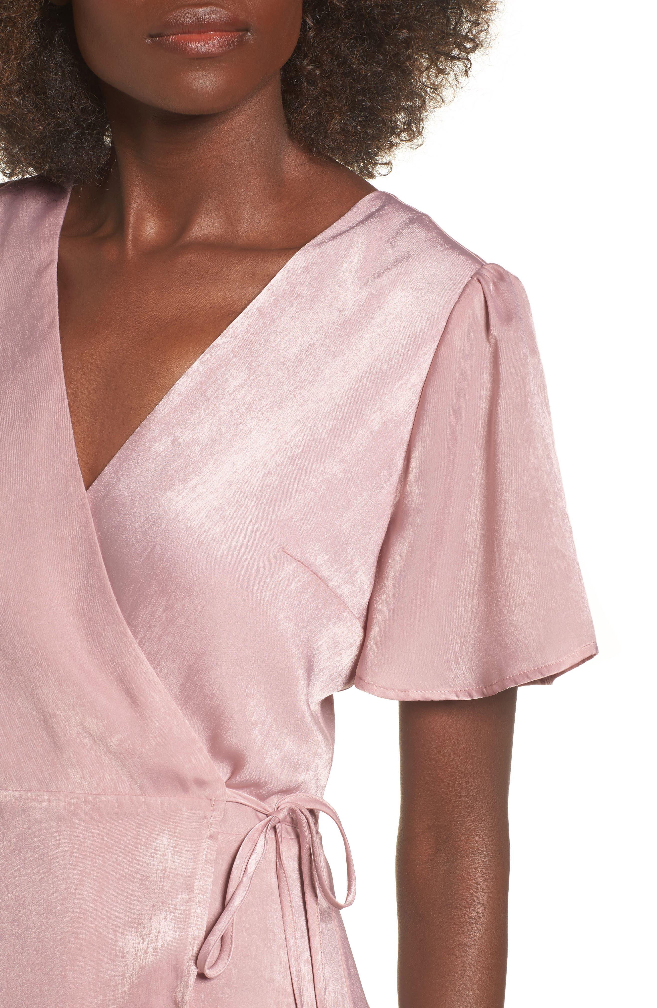 Wrap Maxi Dress,                             Alternate thumbnail 4, color,                             Ballet Pink