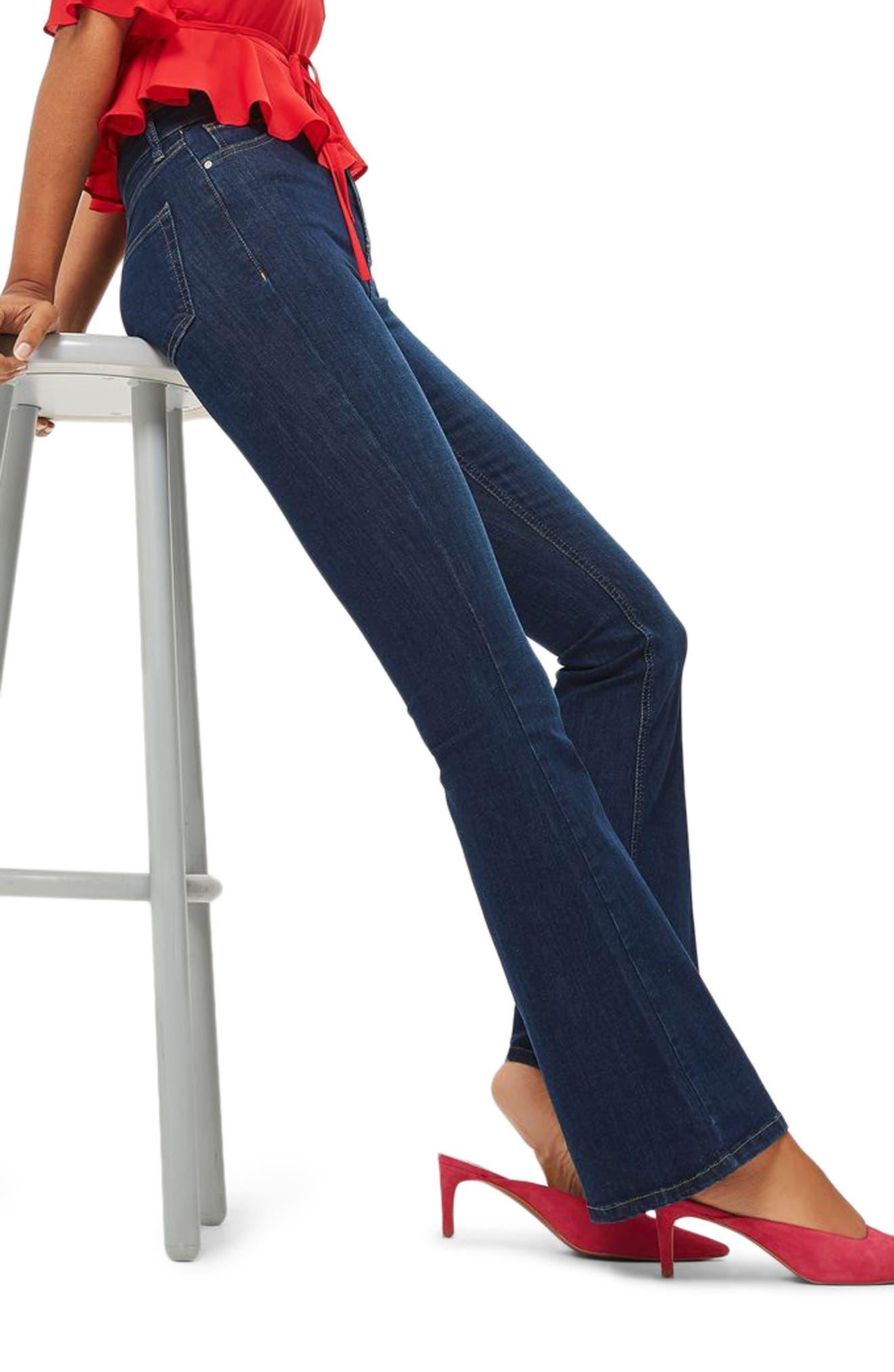 Jamie Flare Jeans,                             Alternate thumbnail 3, color,                             Indigo