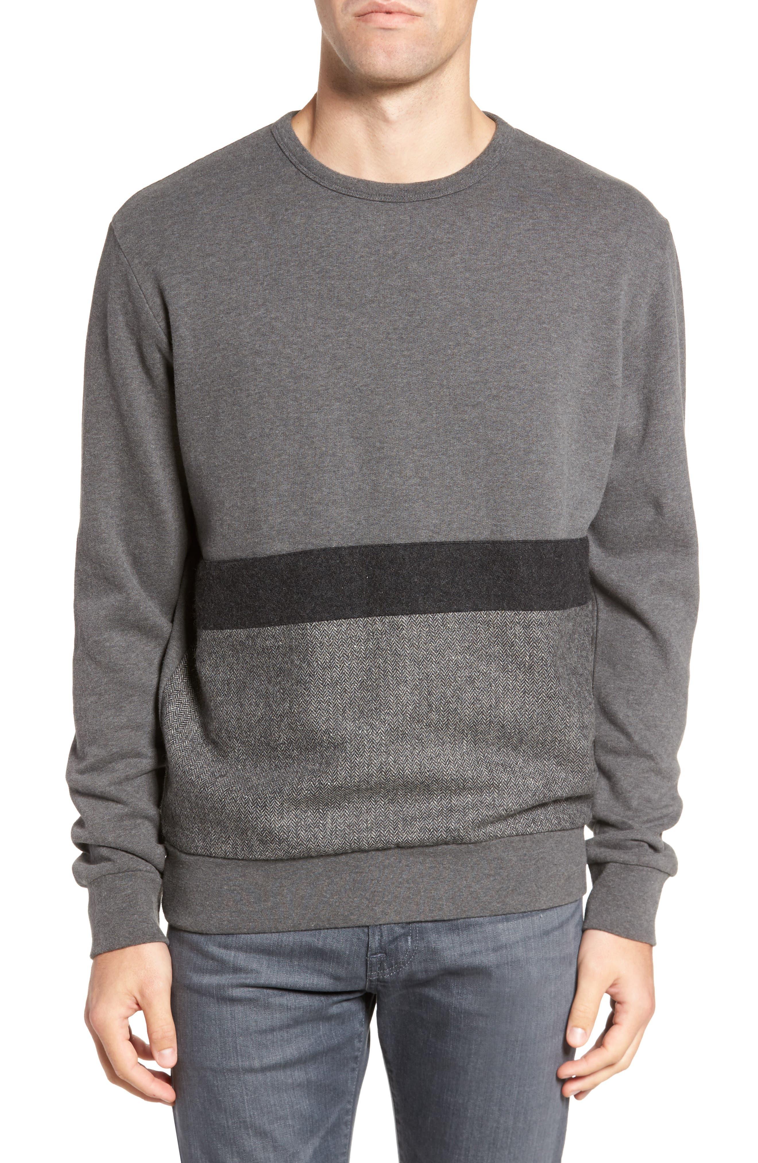 Tweed Appliqué Sweatshirt,                         Main,                         color, Charcoal Melange