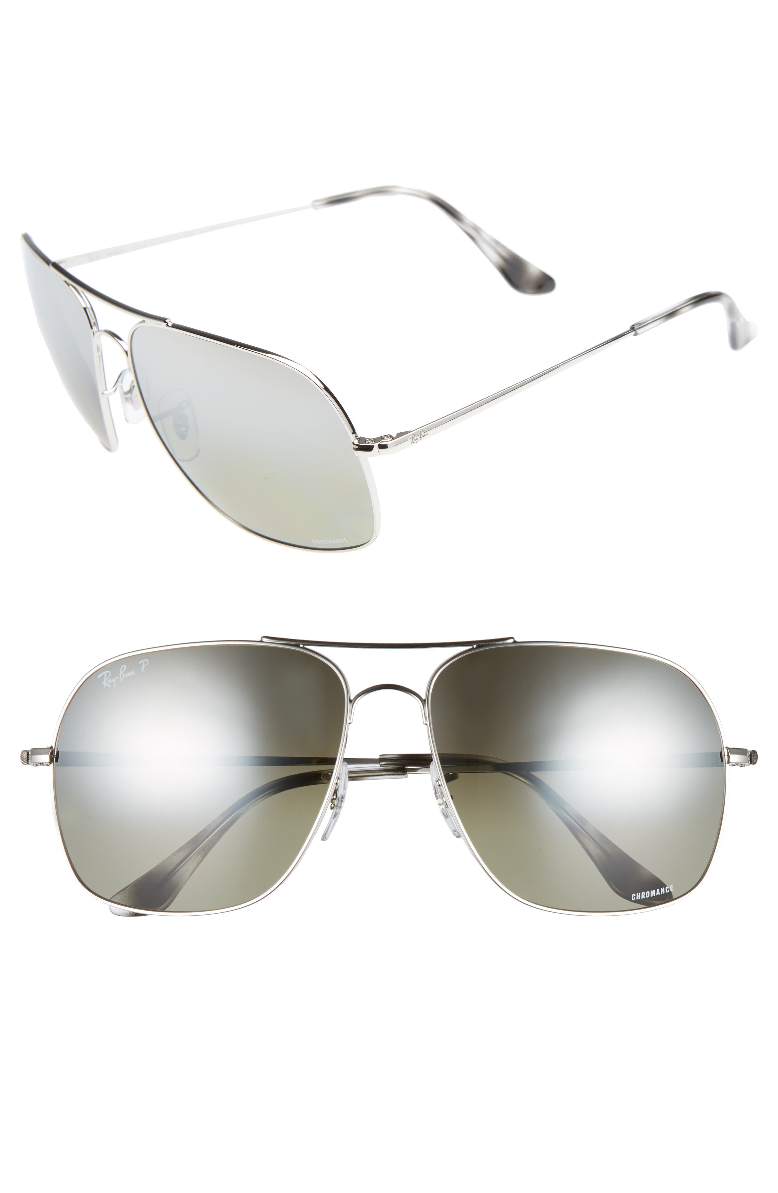 61mm Mirrored Lens Polarized Aviator Sunglasses,                             Main thumbnail 1, color,                             Silver