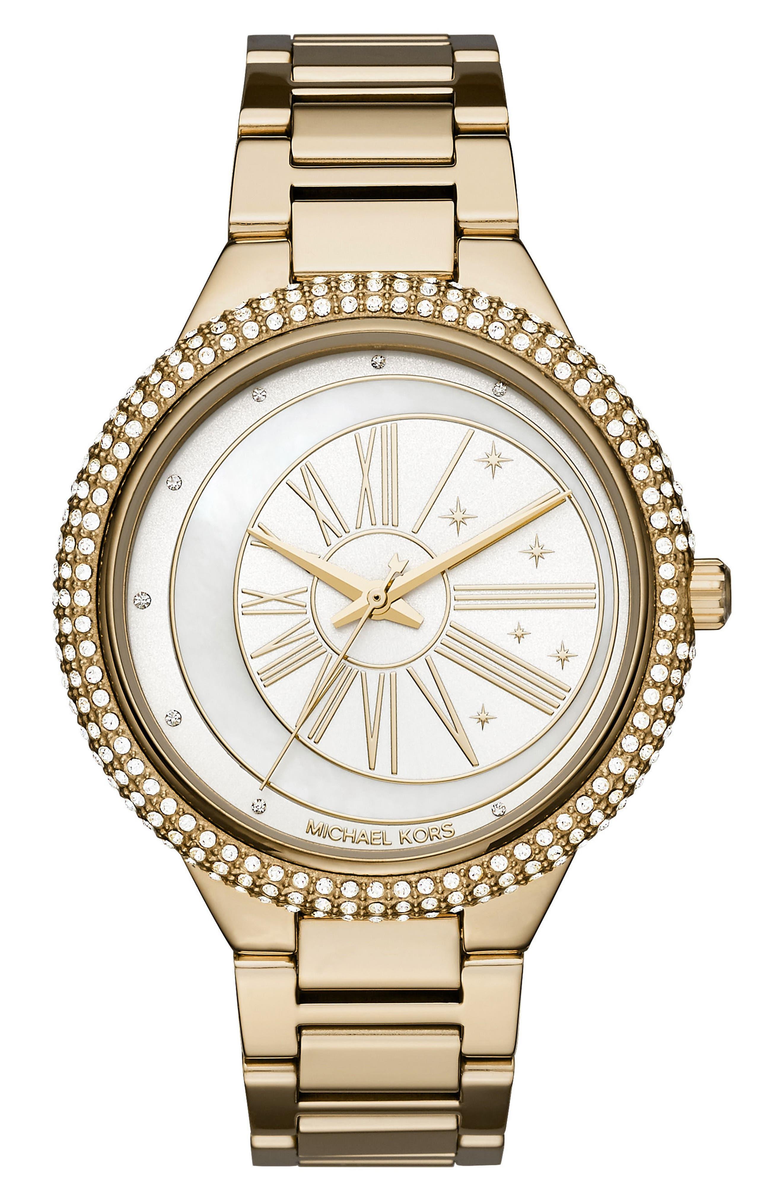 Taryn Crystal Bracelet Watch, 40mm,                         Main,                         color, Gold/ Mop/ Gold