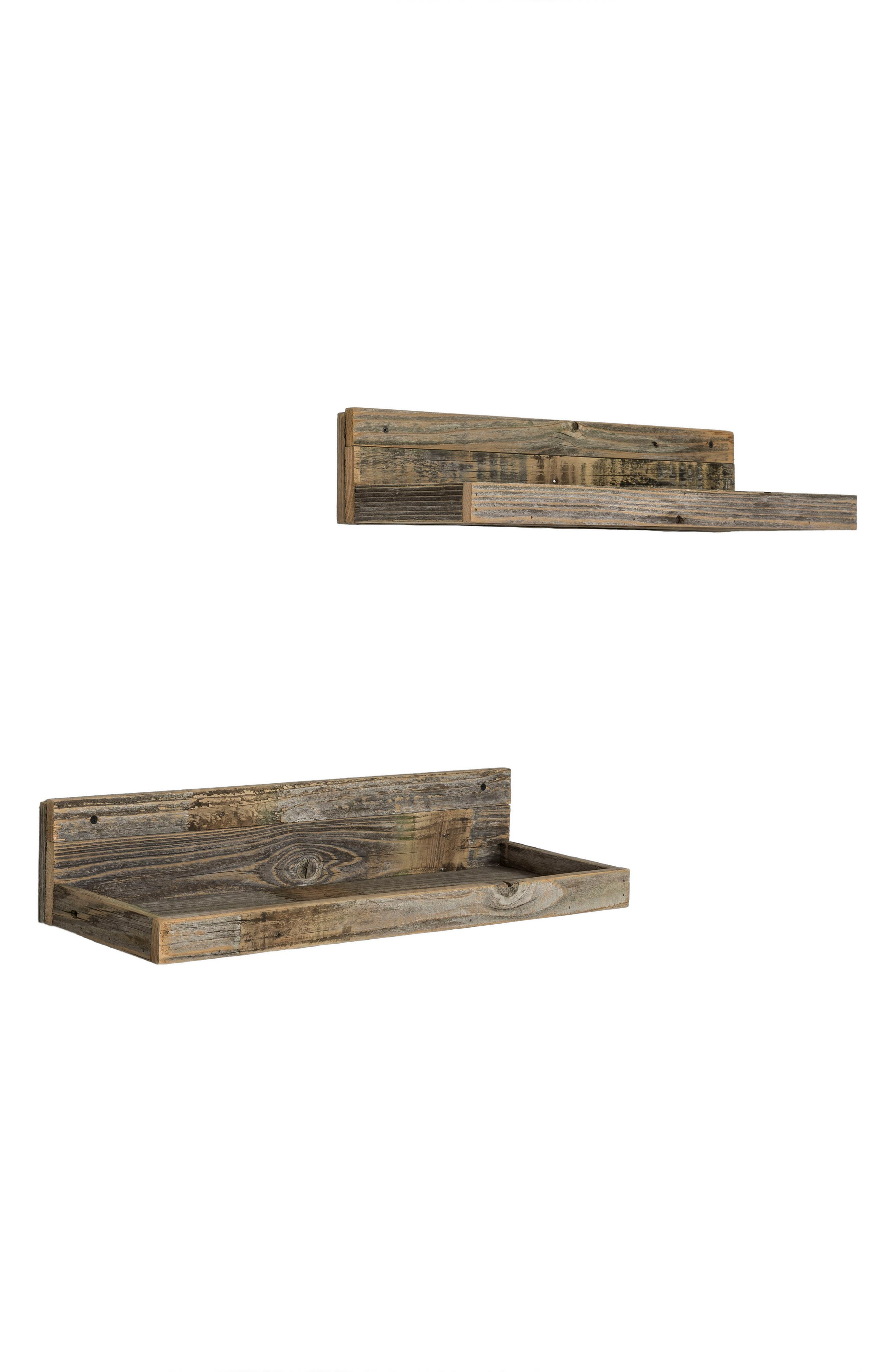 Set of 2 Floating Reclaimed Barnwood Shelves,                             Alternate thumbnail 4, color,                             Natural