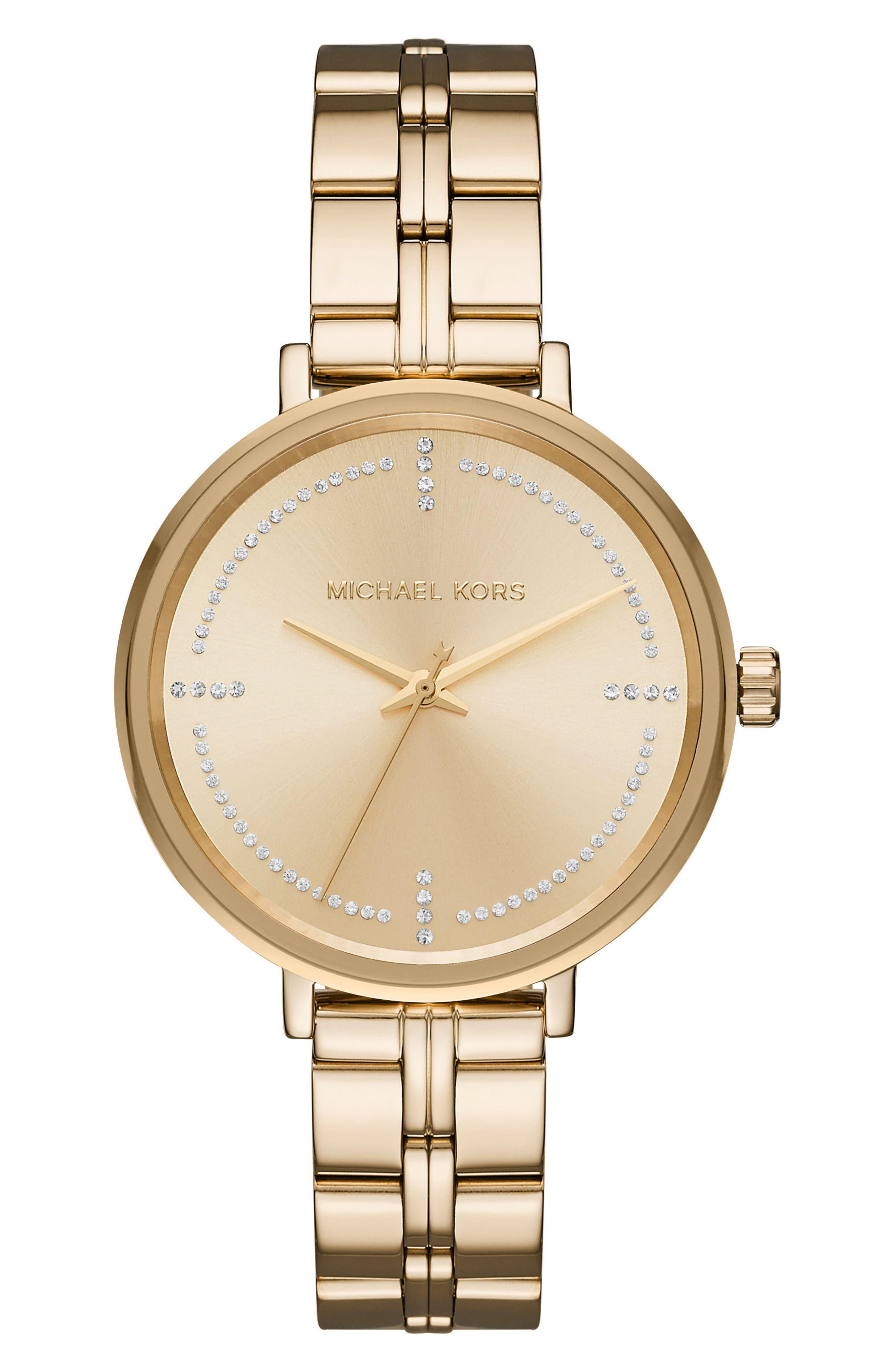 Main Image - Michael Kors Bridgette Crystal Bracelet Watch, 38mm
