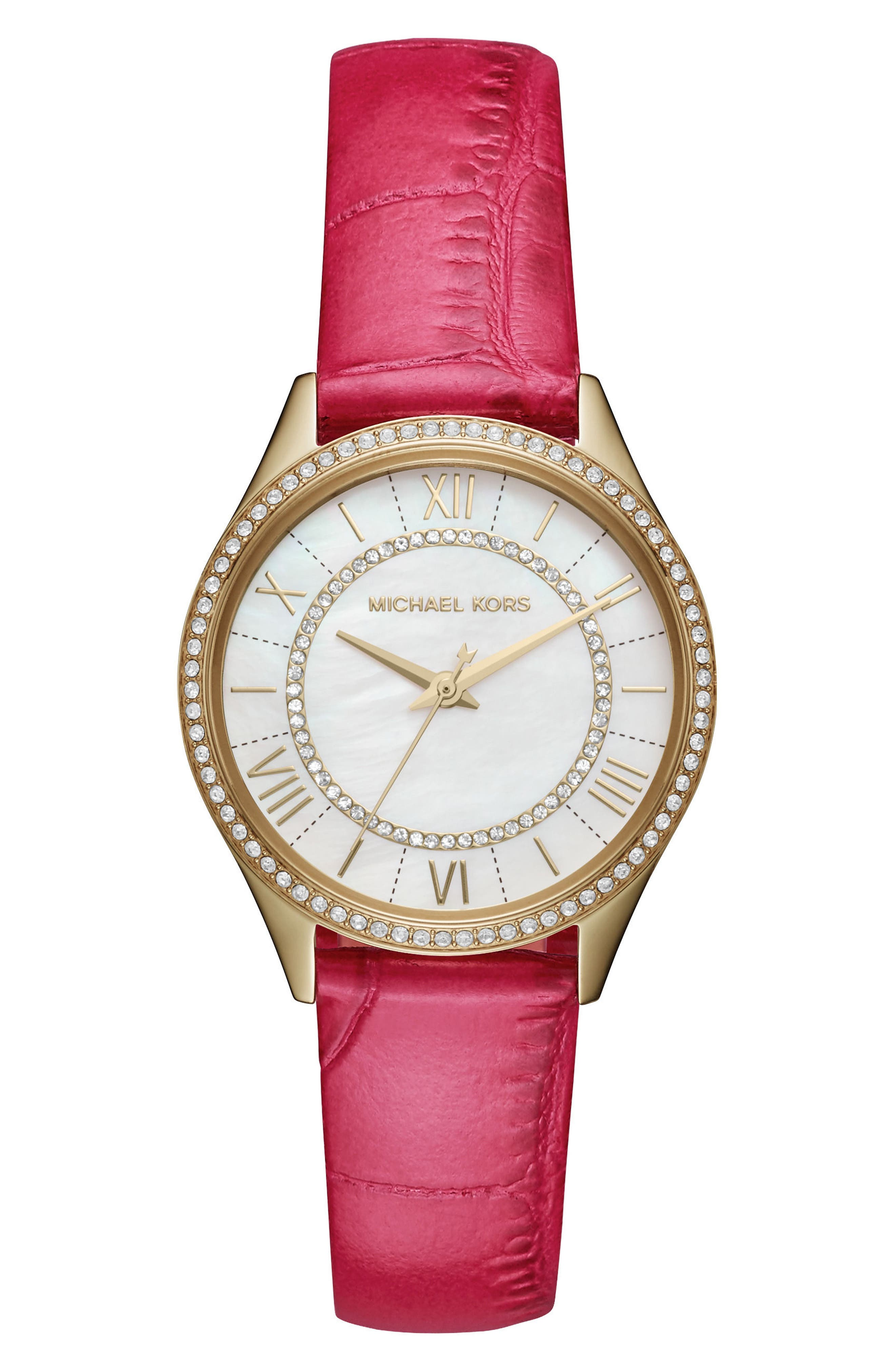 Mini Lauryn Leather Strap Watch, 33mm,                         Main,                         color, Pink/ White/ Gold