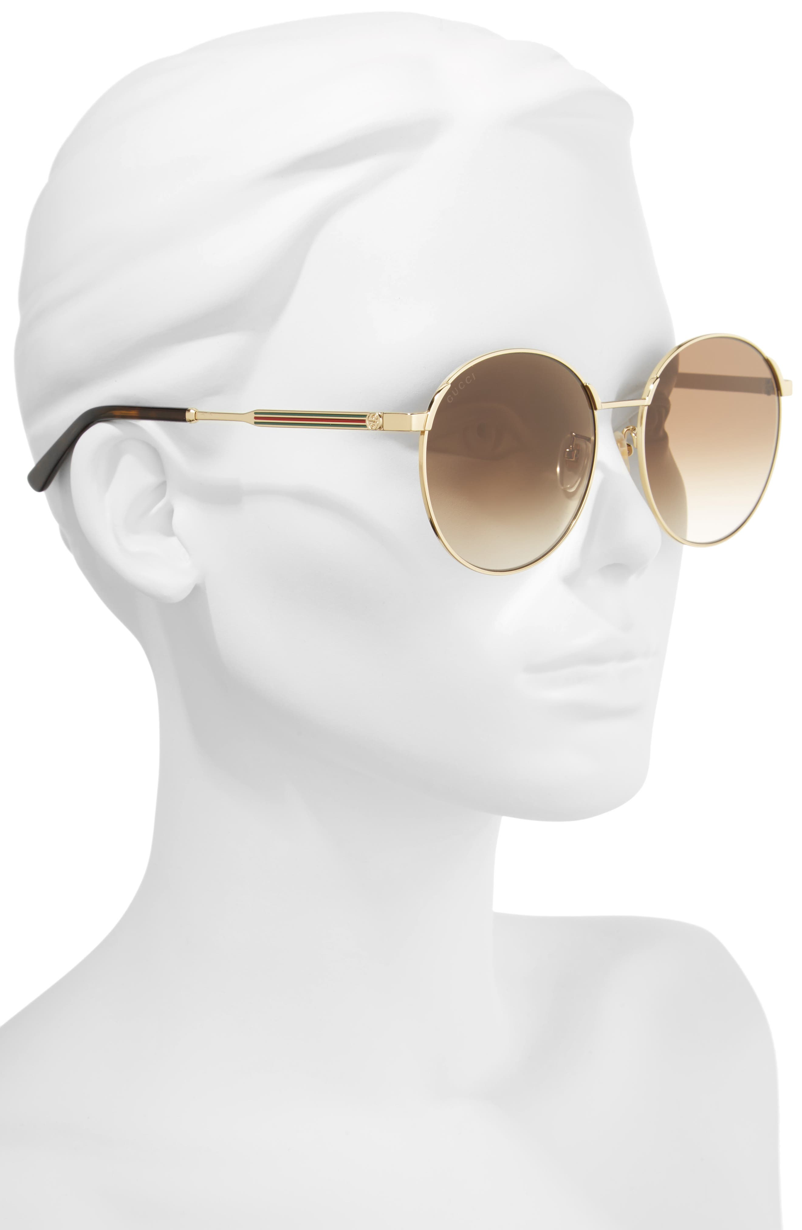 58mm Round Sunglasses,                             Alternate thumbnail 2, color,                             Gold/ Brown