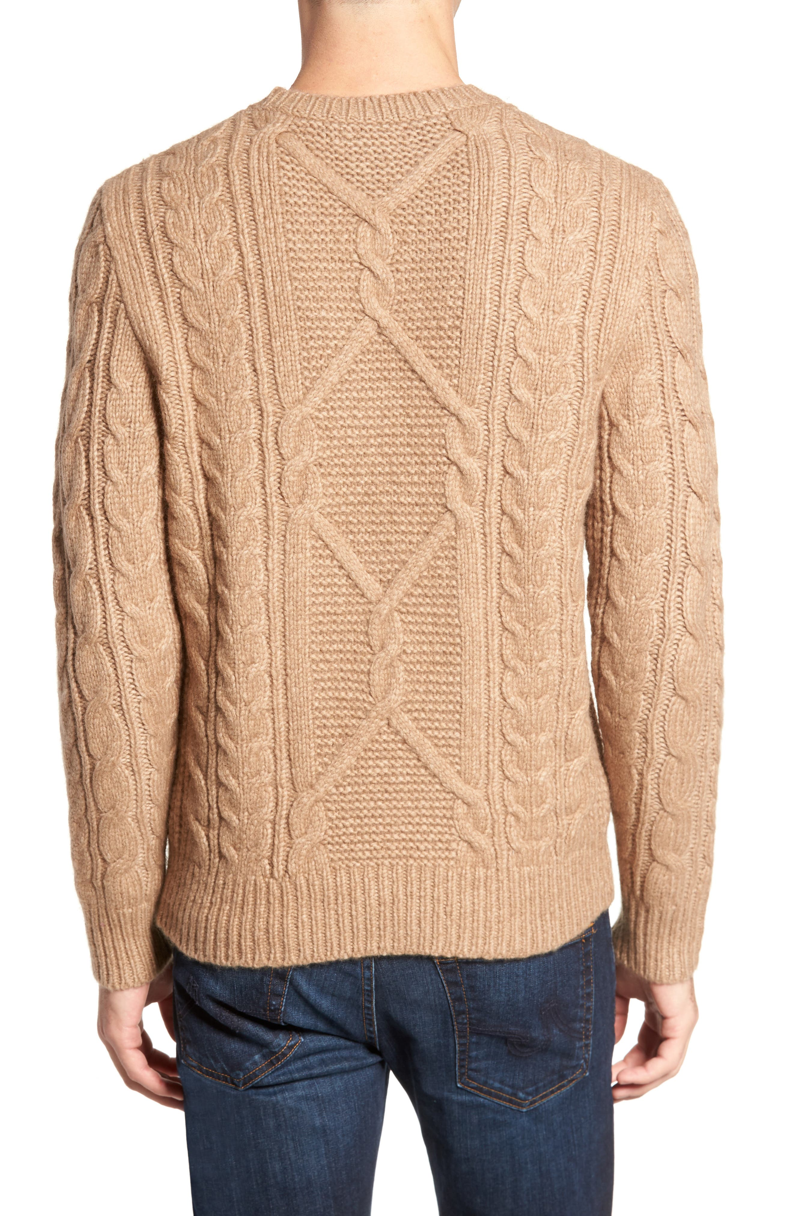 Cable Knit Crewneck Sweater,                             Alternate thumbnail 2, color,                             Camel