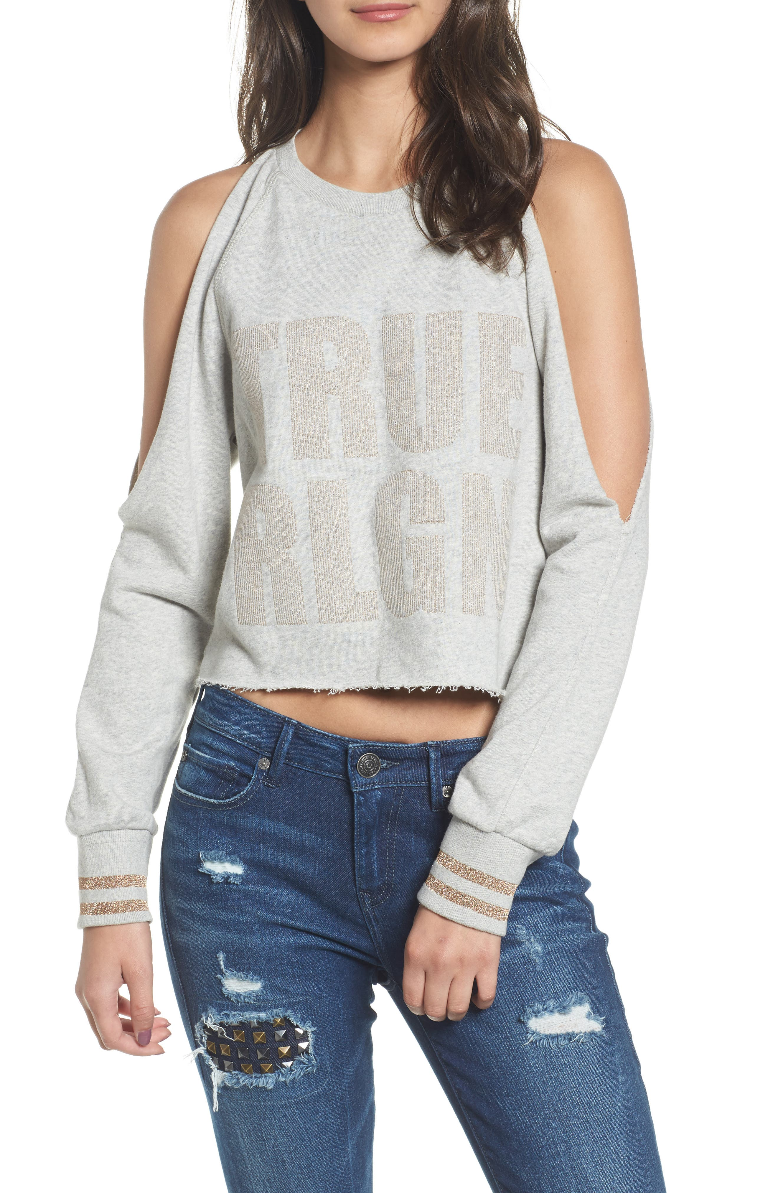 Cold Shoulder Crop Sweatshirt,                             Main thumbnail 1, color,                             Heather Grey