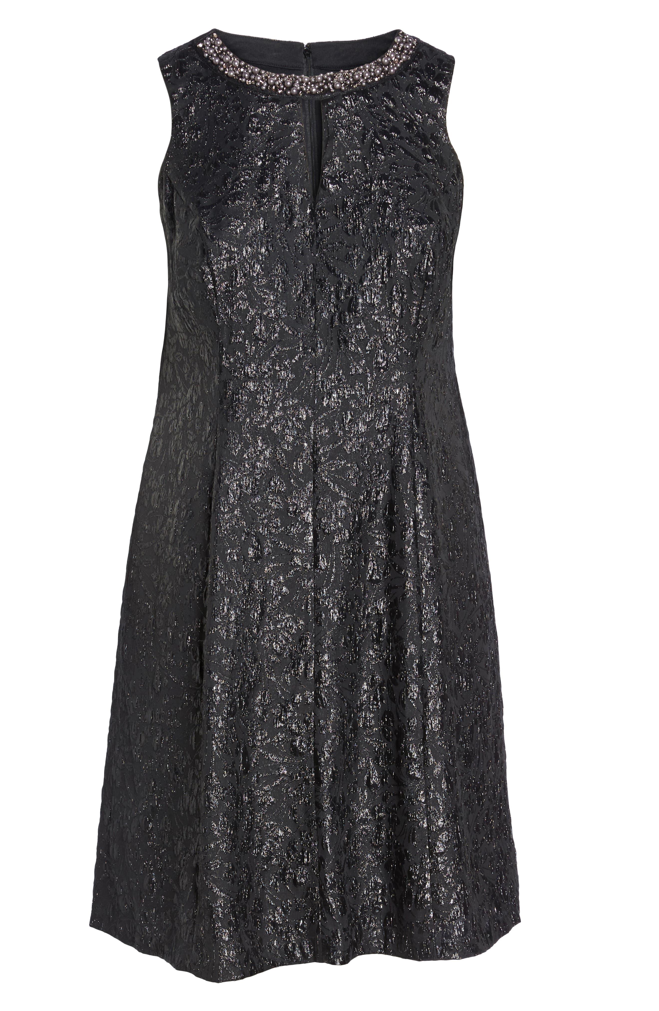 Alternate Image 6  - London Times Beaded Neck Fit & Flare Dress (Plus Size)
