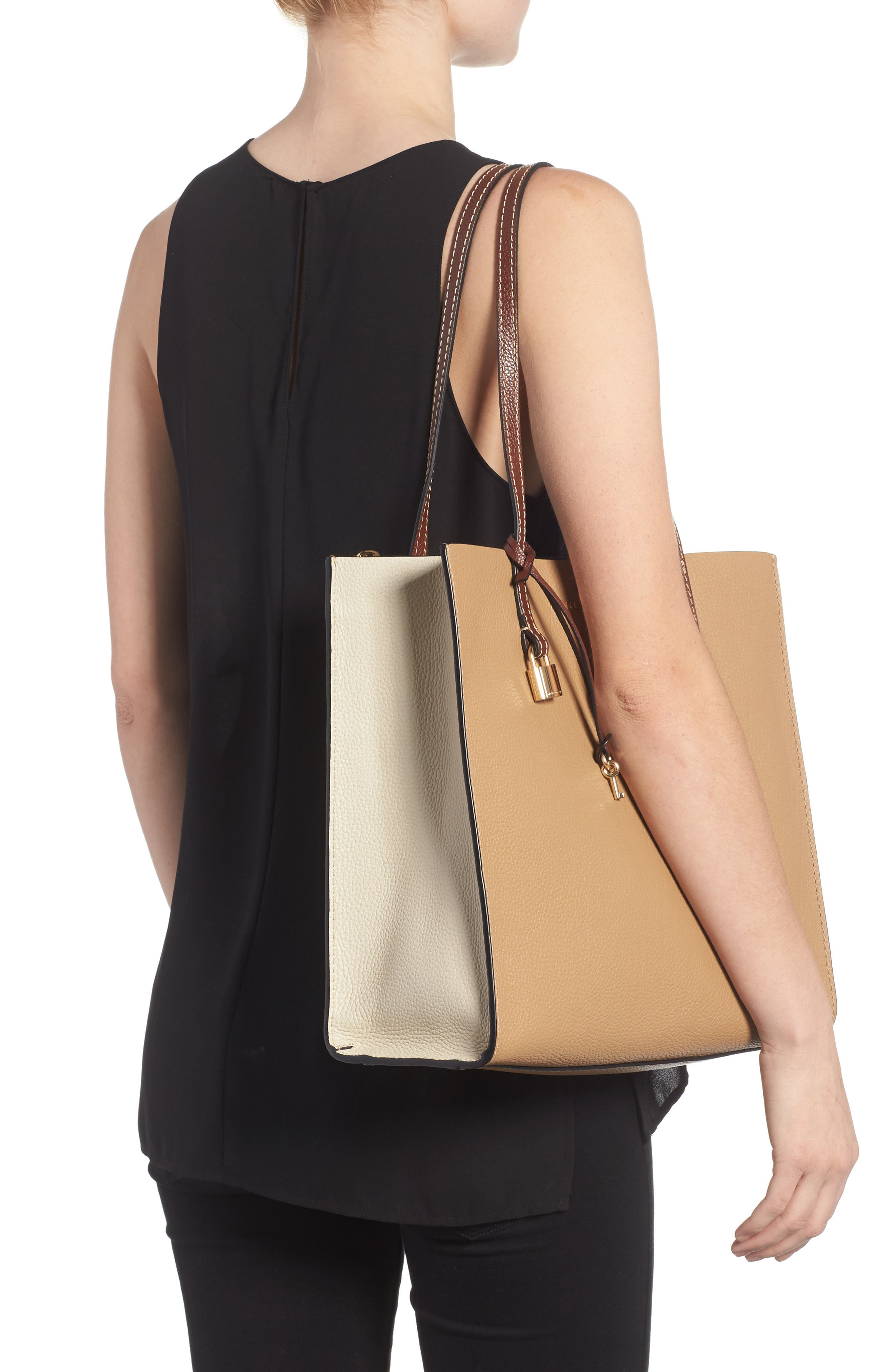 The Grind Colorblock Leather Tote,                             Alternate thumbnail 2, color,                             Natural Multi