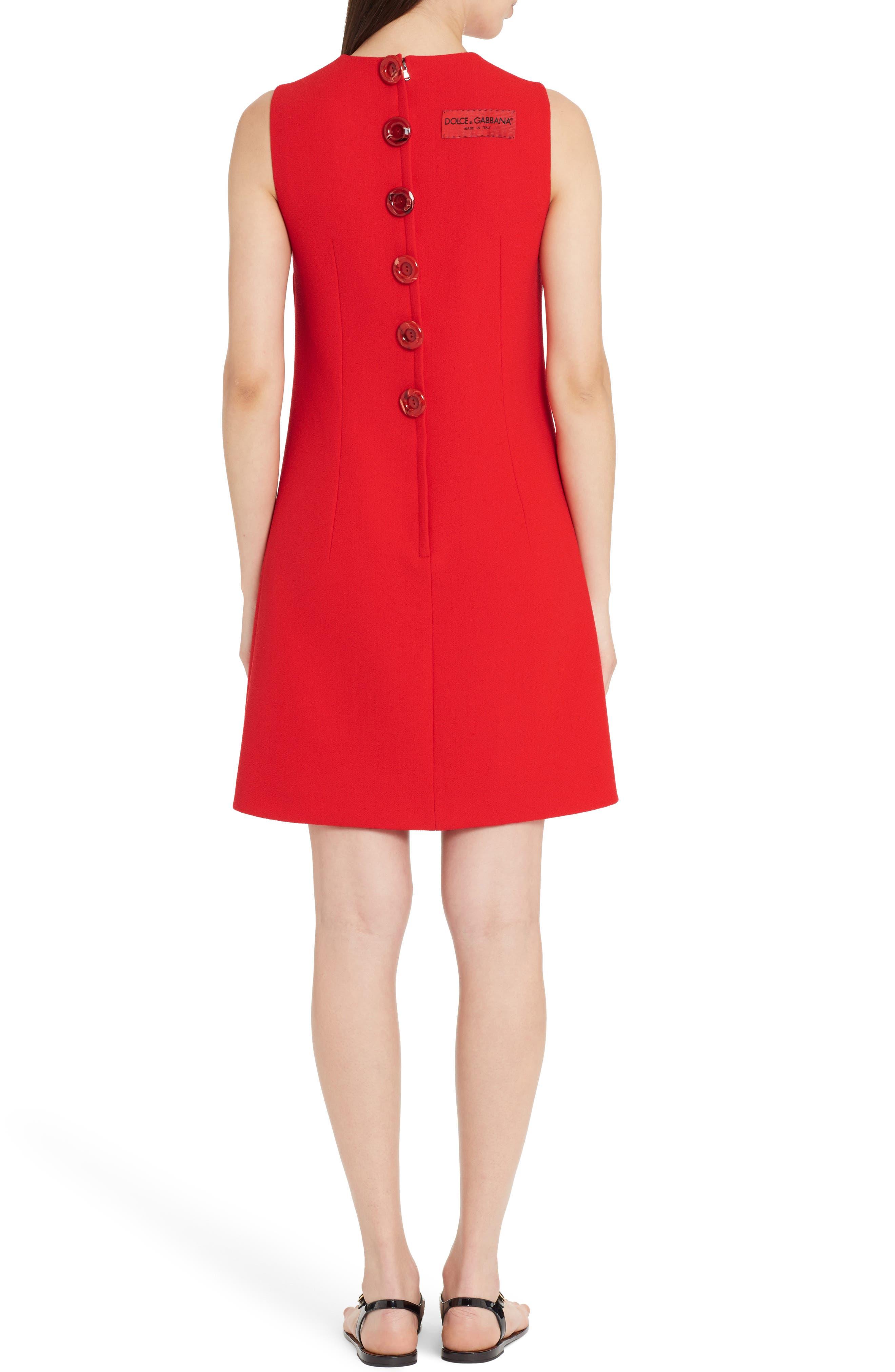 Crepe Shift Dress,                             Alternate thumbnail 2, color,                             Red