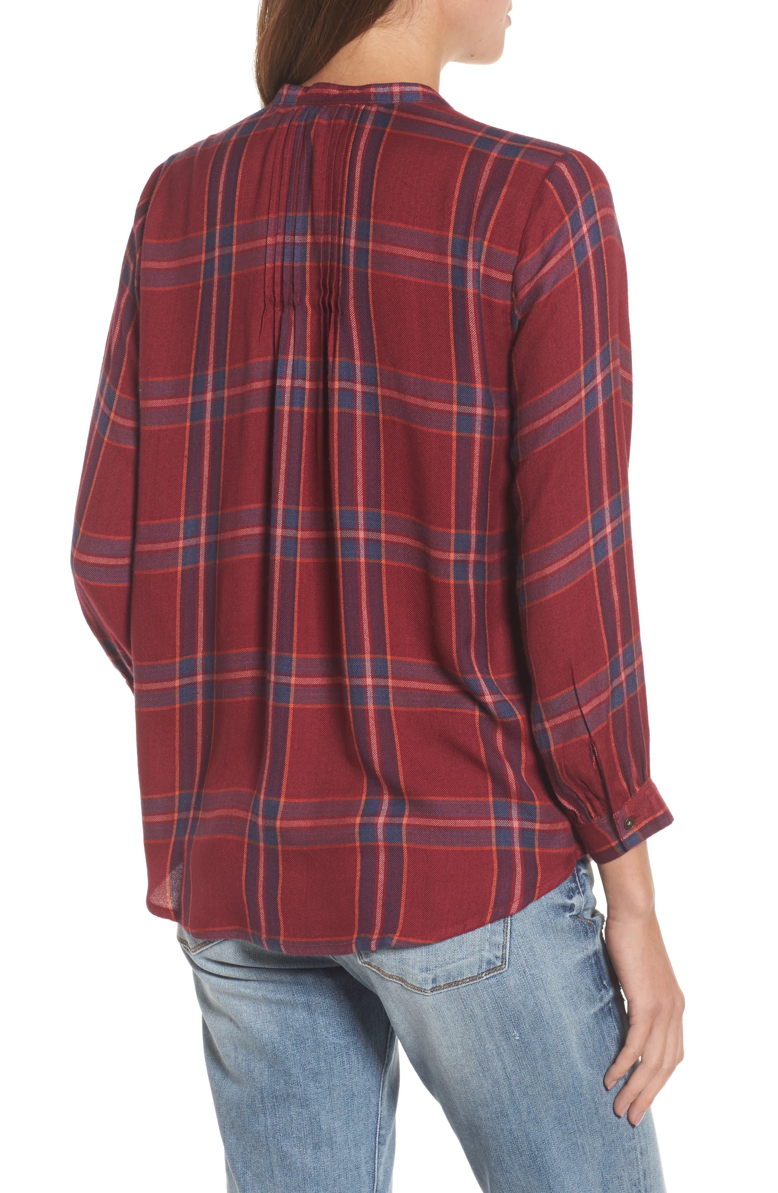 Plaid Popover Shirt,                             Alternate thumbnail 2, color,                             Red Multi