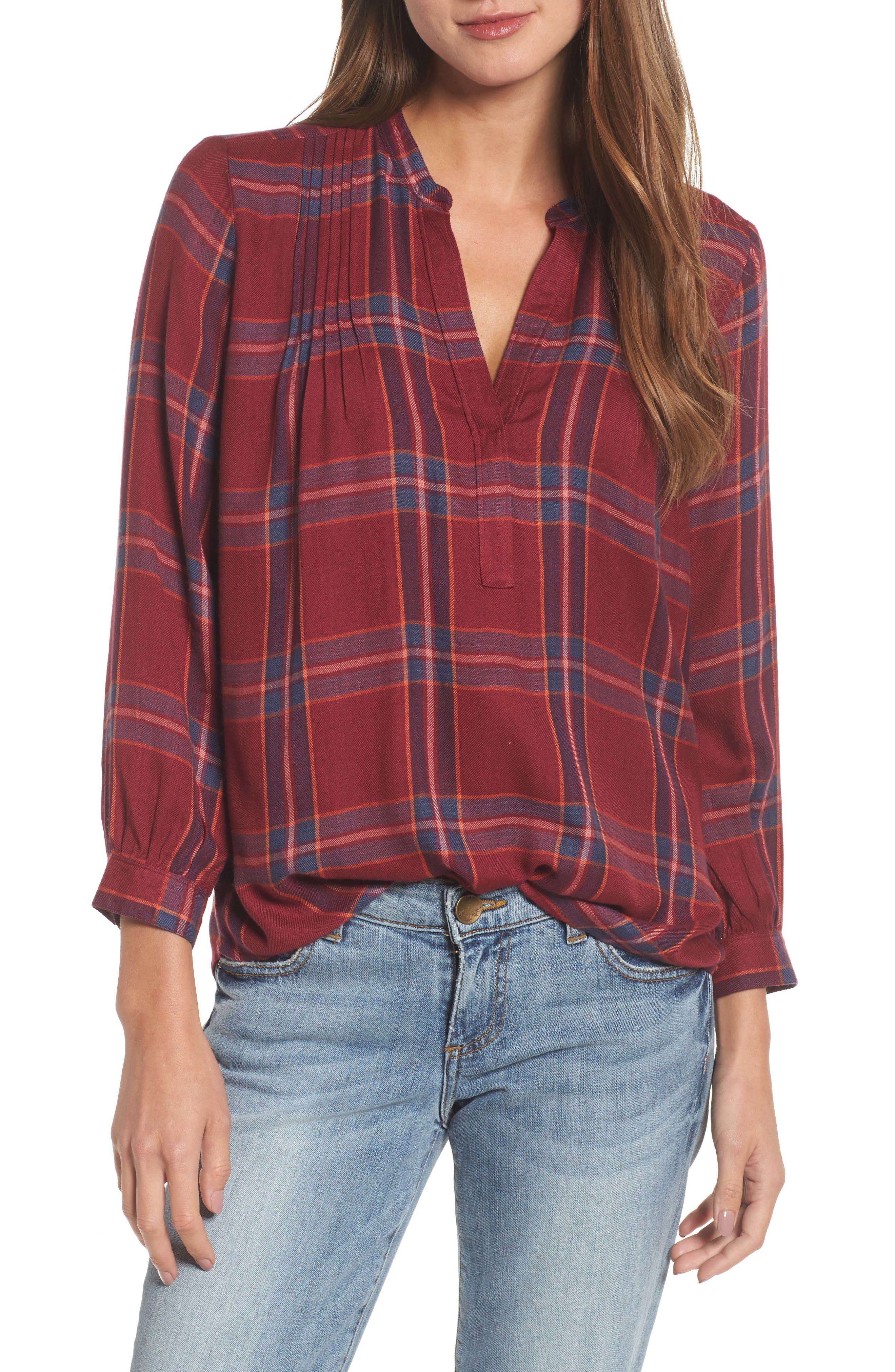 Plaid Popover Shirt,                         Main,                         color, Red Multi